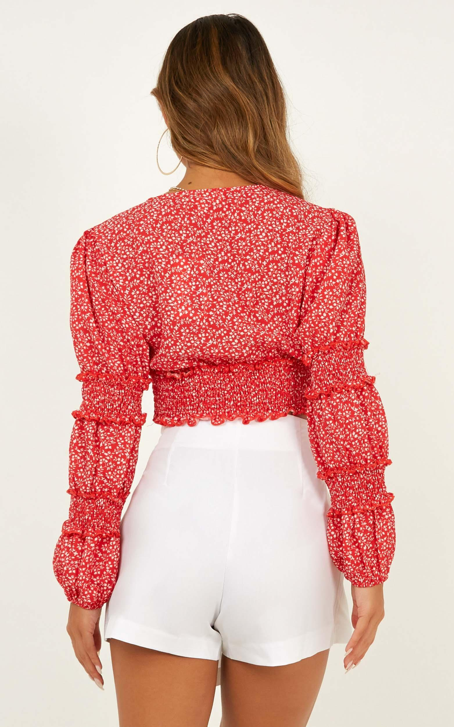 Sweet Wishing top in red floral - 12 (L), Red, hi-res image number null