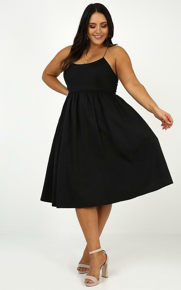 Wild Nights A-line Spaghetti Strap Dress in Black - 04, BLK1, hi-res image number null