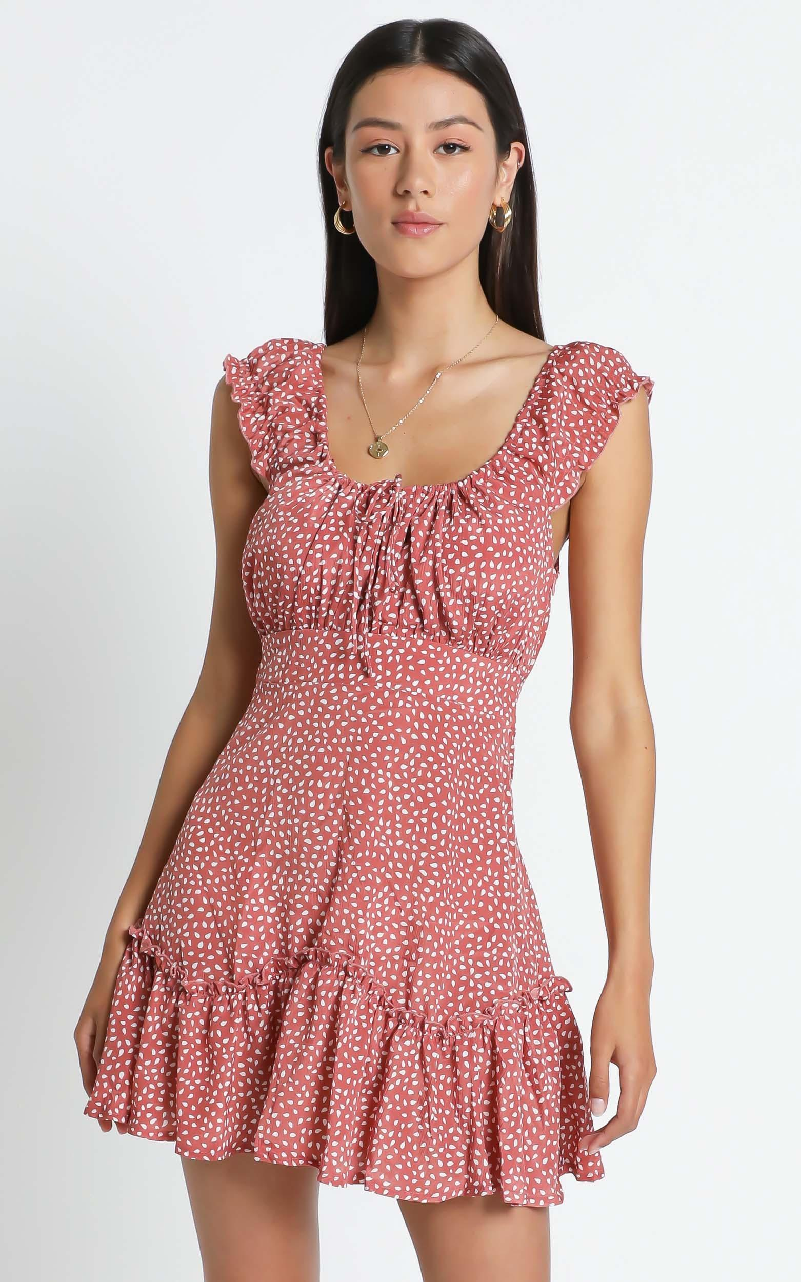 Raleigh dress in dusty rose print- 6 (XS), Pink, hi-res image number null