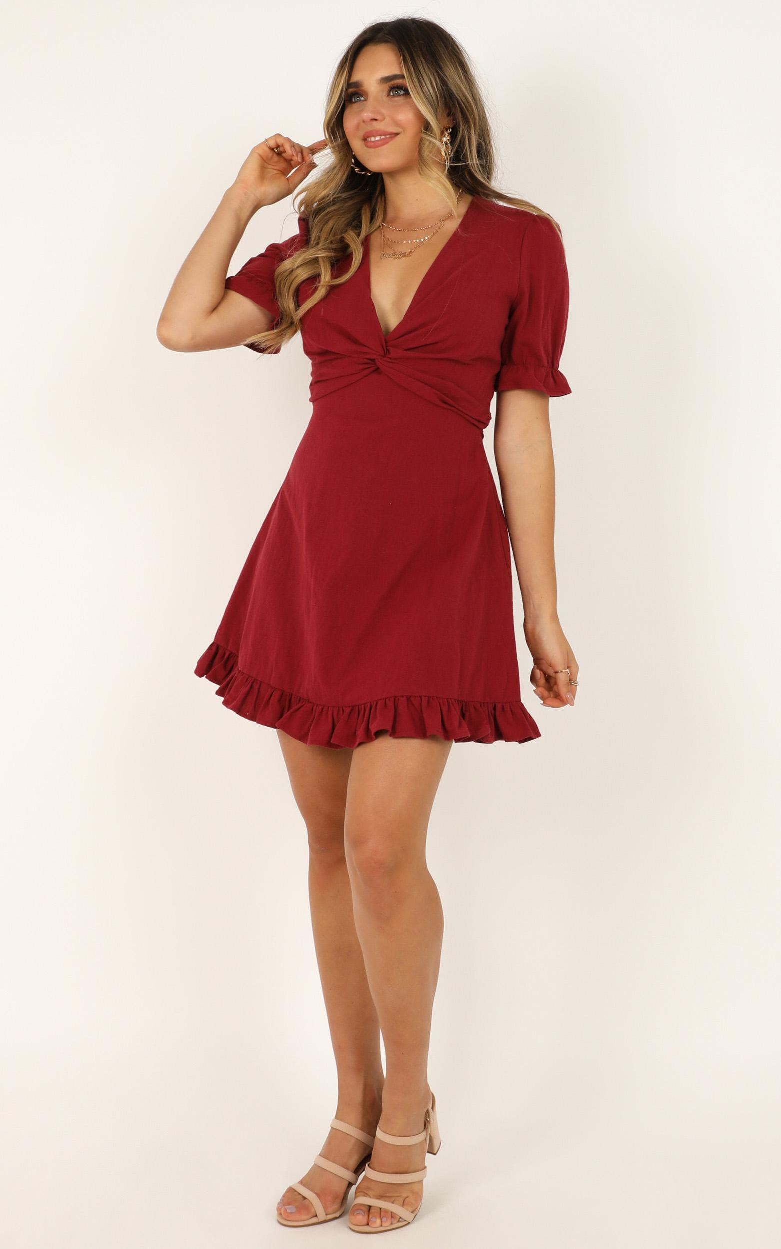 Under Your Influence Dress in wine - 14 (XL), Wine, hi-res image number null