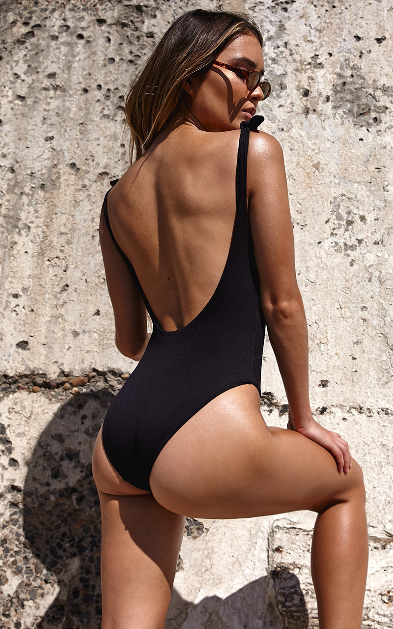 Annika One Piece in Black Rib - 14 (XL), Black, hi-res image number null
