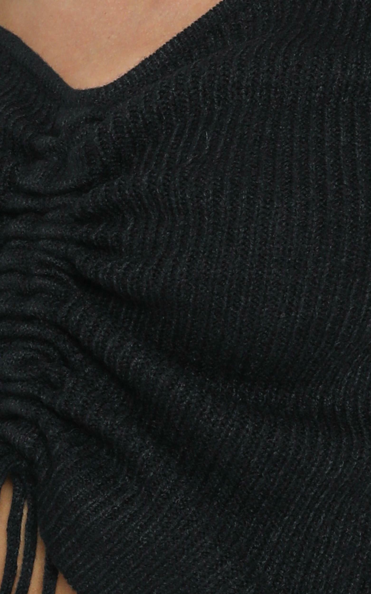 Leia Ruched Detail Knit in black - S/M, Black, hi-res image number null