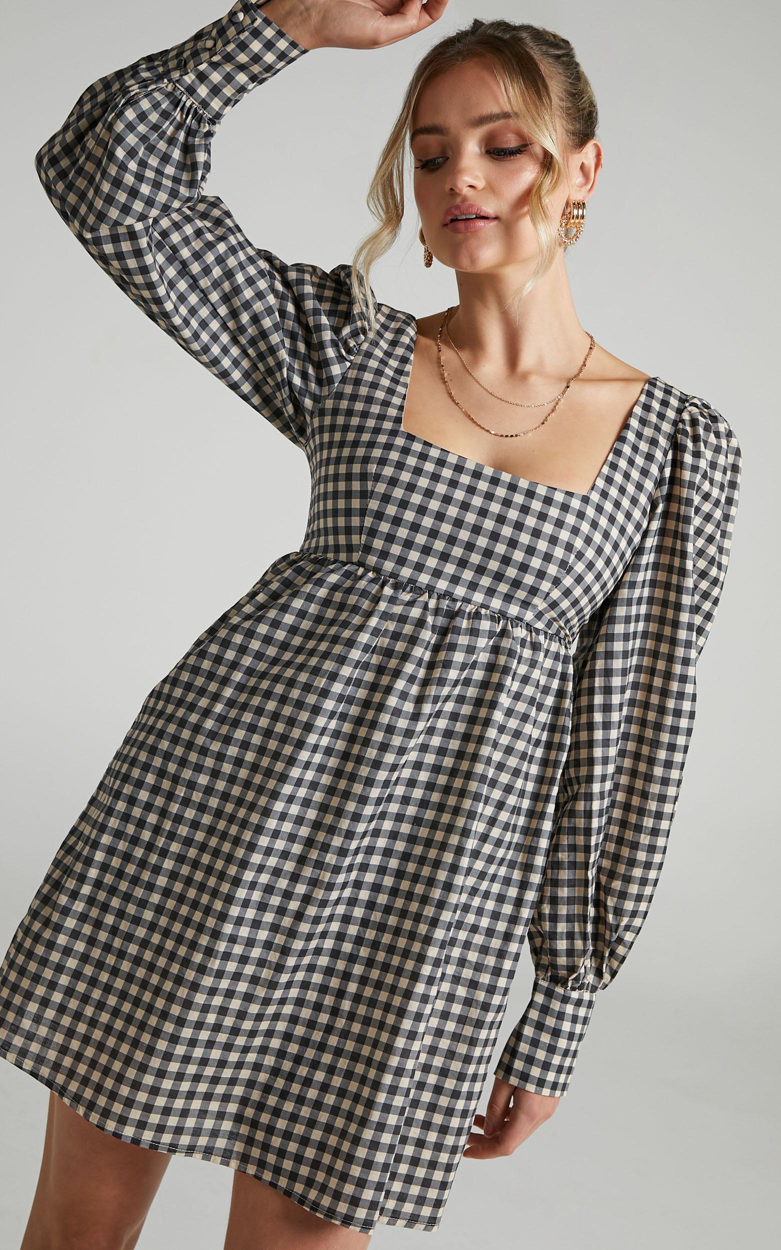 Charlie Holiday - Jemma Dress in Gingham - 06, BLK1, hi-res image number null