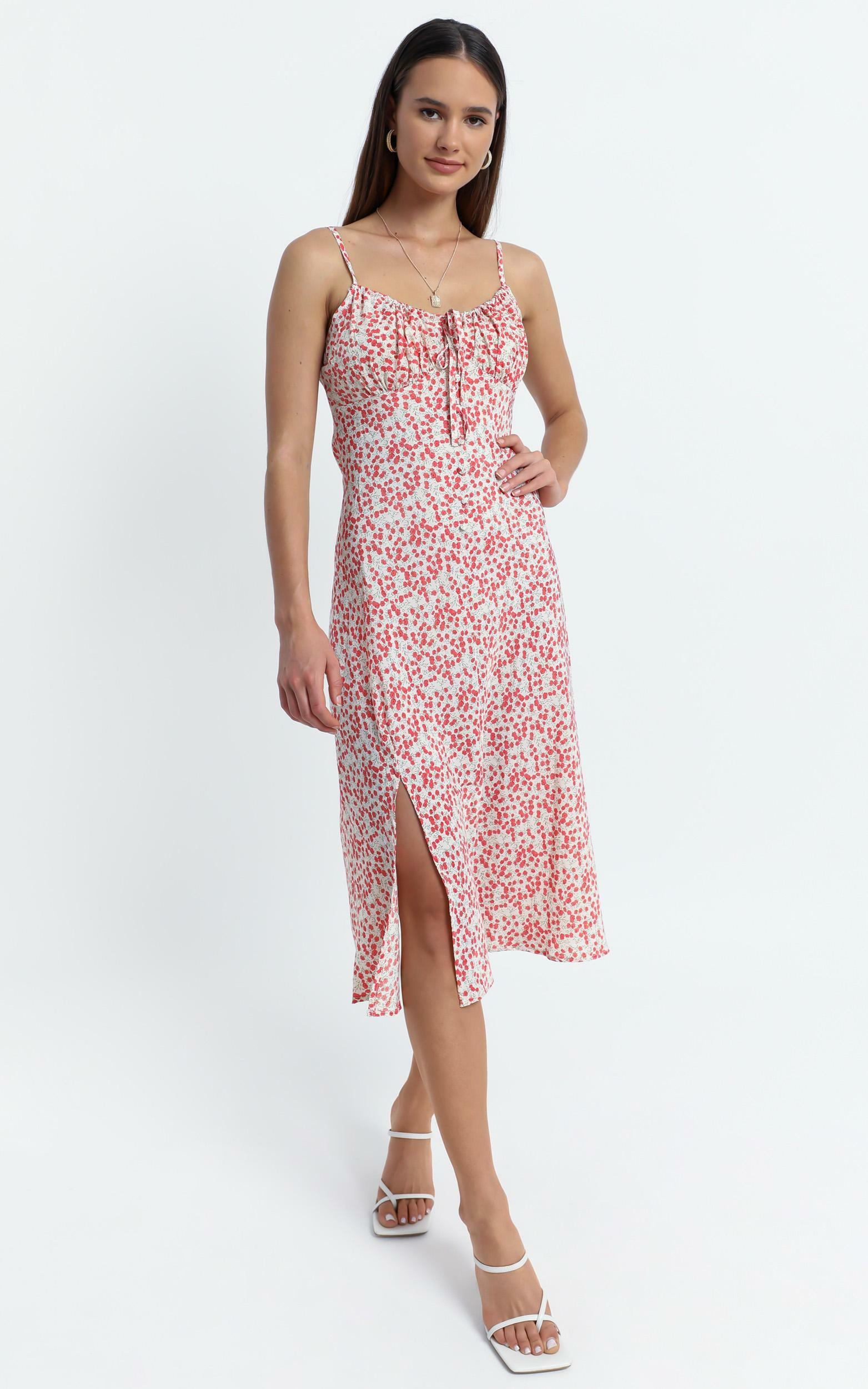 California Dress in Red Floral - 10 (M), Red, hi-res image number null