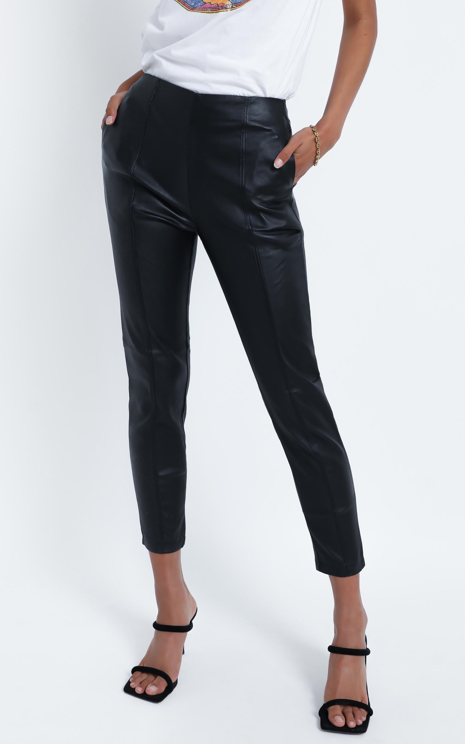 Flynn Pants in Black Leatherette - 14 (XL), Black, hi-res image number null