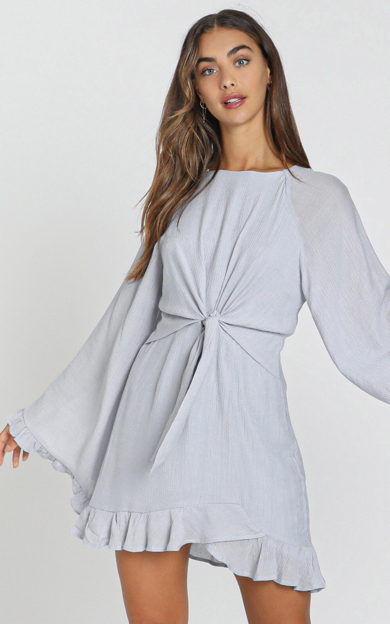Ophelia Tie Front Dress in grey - 6 (XS), Grey, hi-res image number null