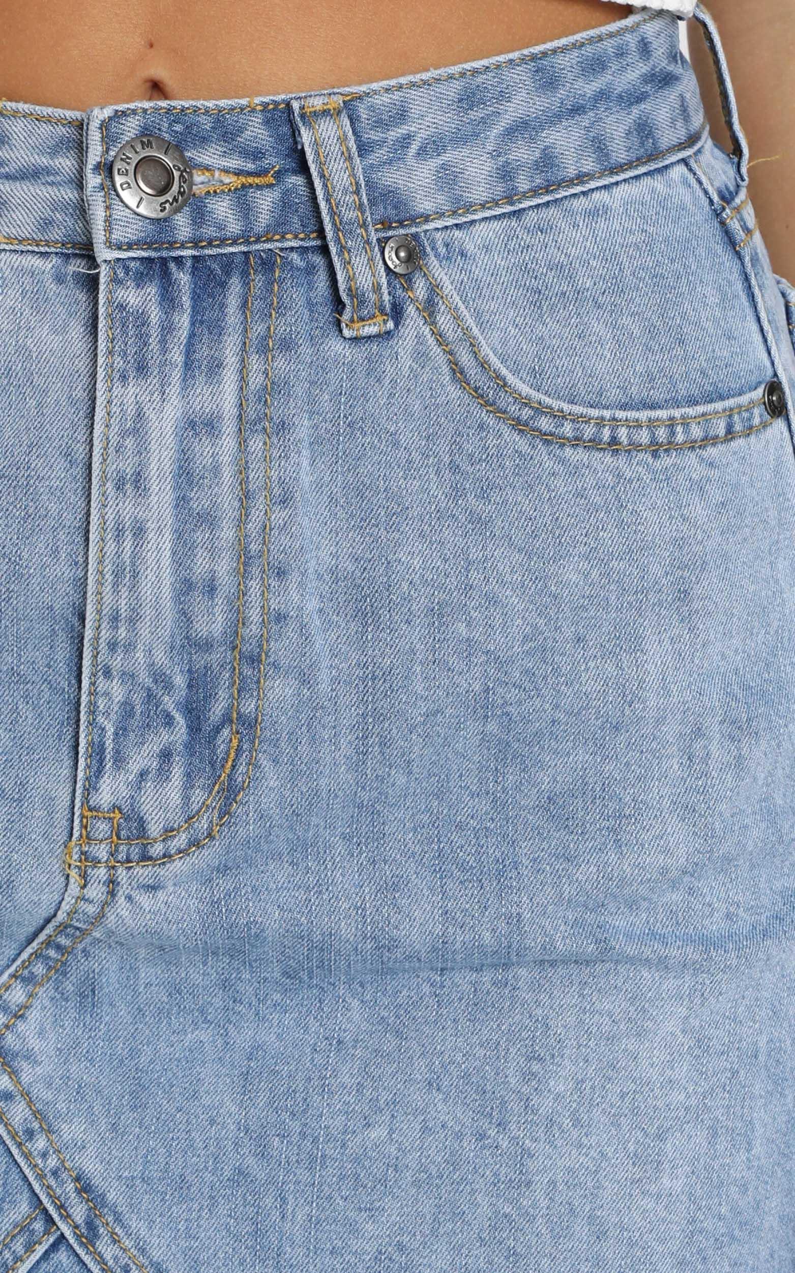 Aubree Denim Skirt In Mid Wash - 20 (XXXXL), Blue, hi-res image number null
