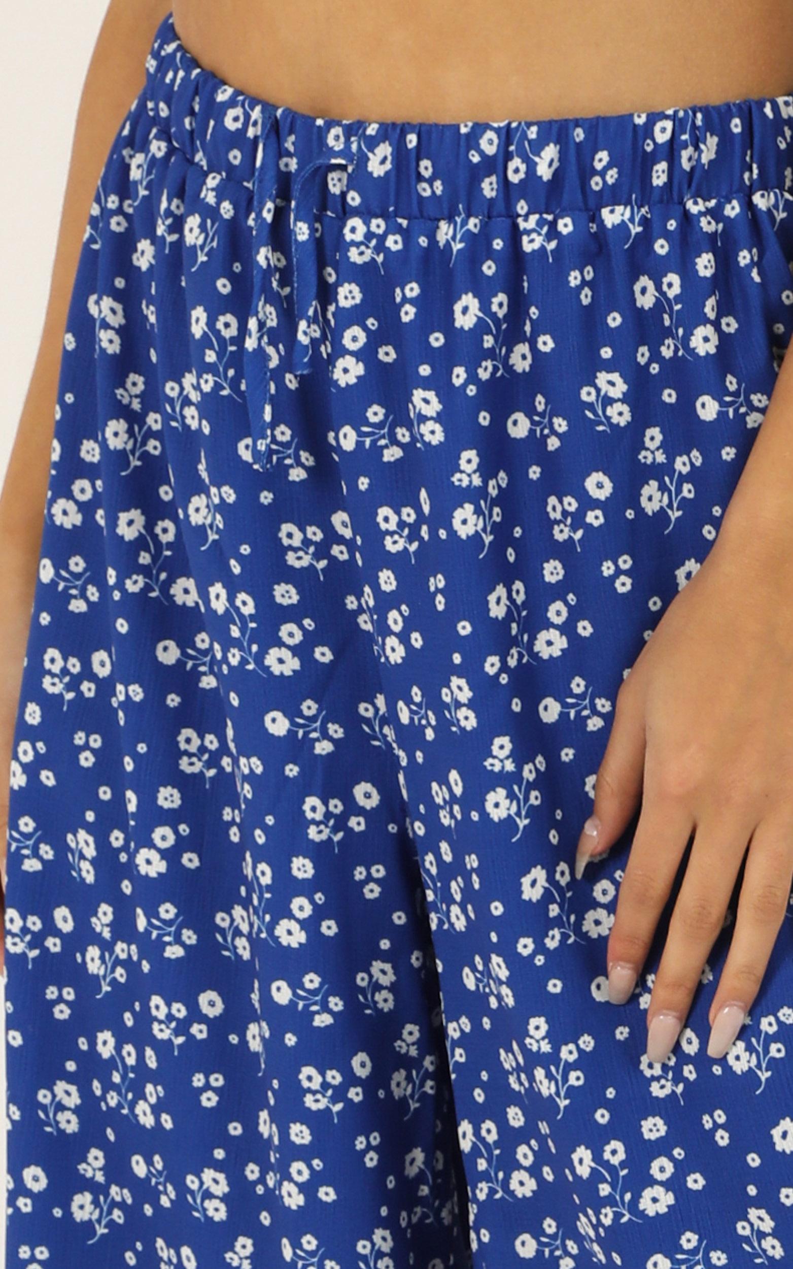 I Am Still Here Pants in cobalt blue floral - 12 (L), Blue, hi-res image number null