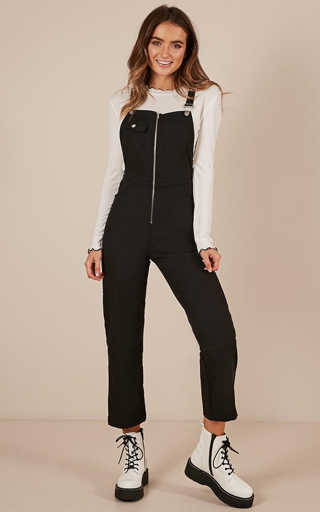 Want To Be Friends Overall Jumspuit in black Linen Look - 14 (XL), Black, hi-res image number null