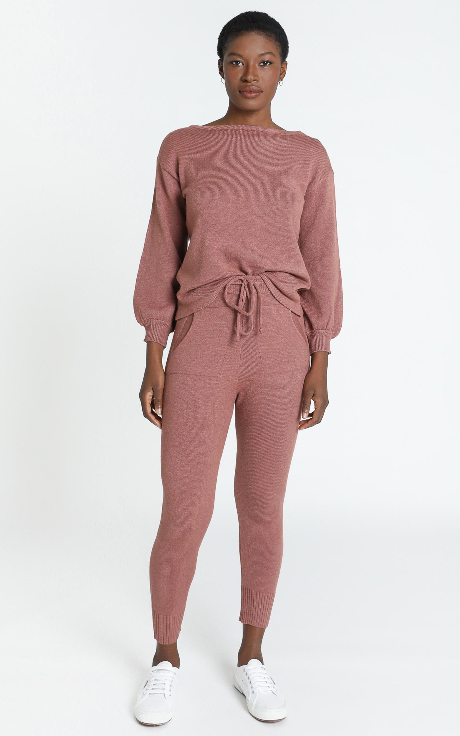 Benny Knit Pants in Dusty Rose - S, Pink, hi-res image number null