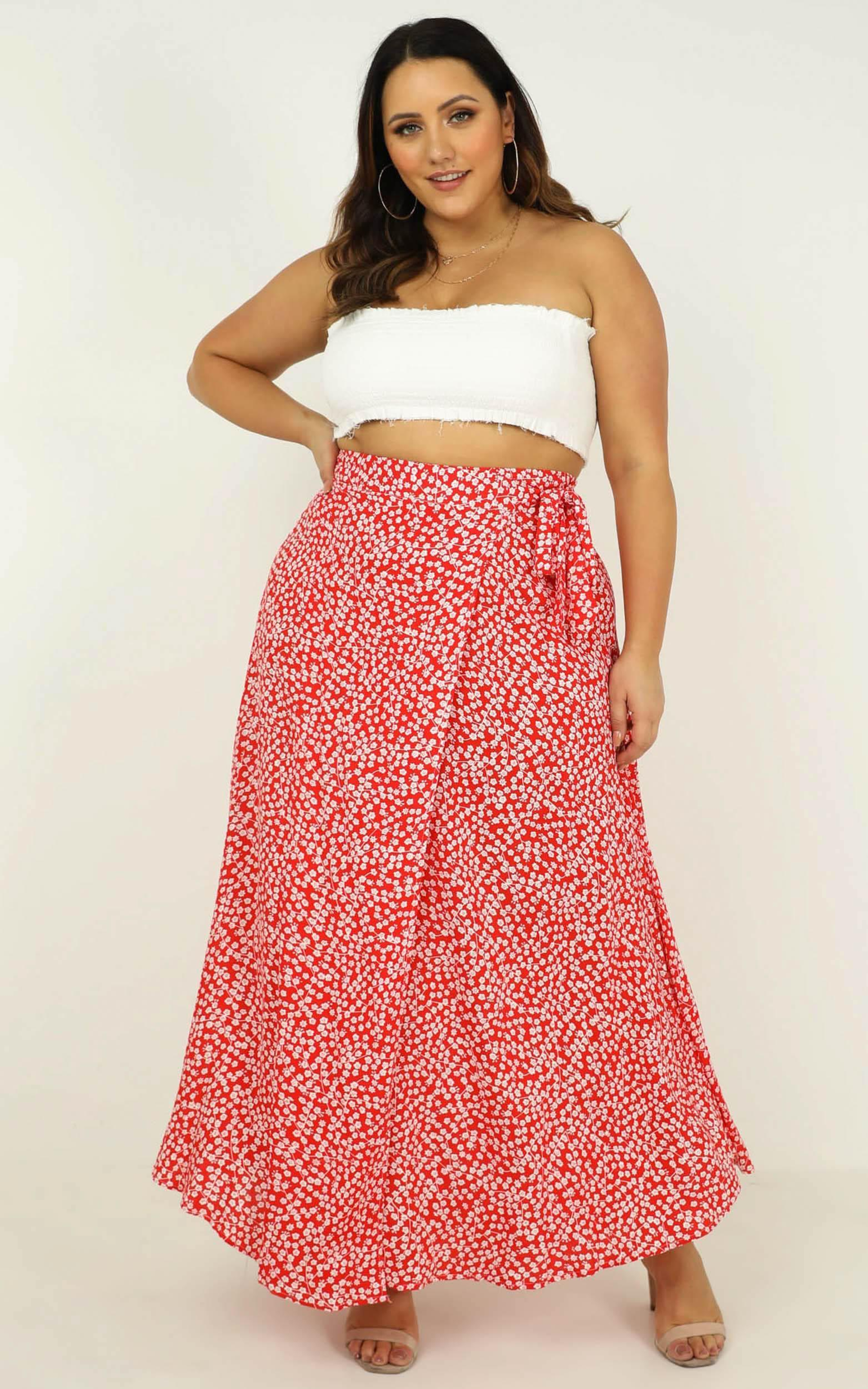 Break A Leg maxi skirt in red floral - 20 (XXXXL), Red, hi-res image number null
