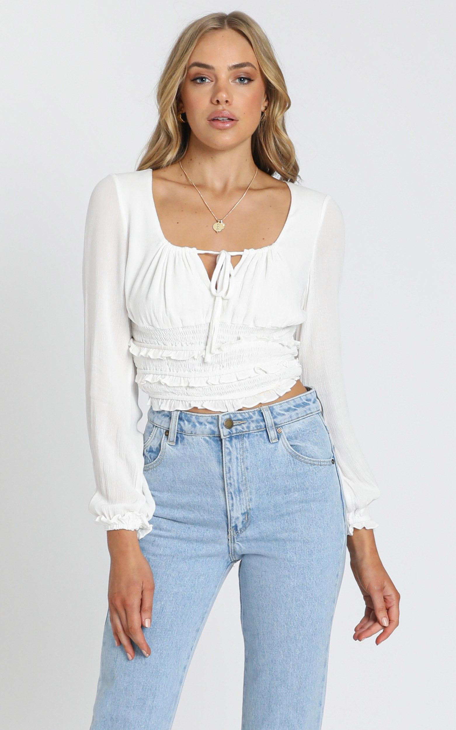 Eugenie Long Sleeve Top in White - 6 (XS), White, hi-res image number null