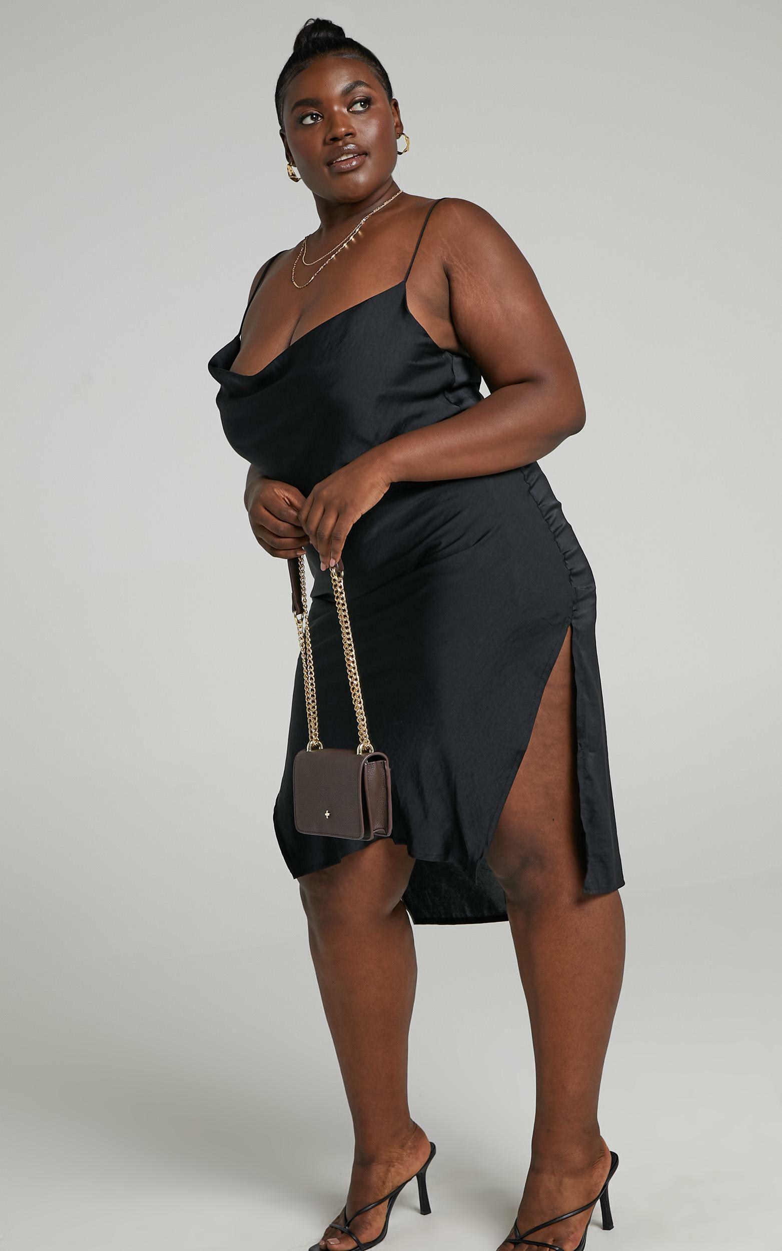 Levelle Dress in Black Satin - 6 (XS), Black, hi-res image number null