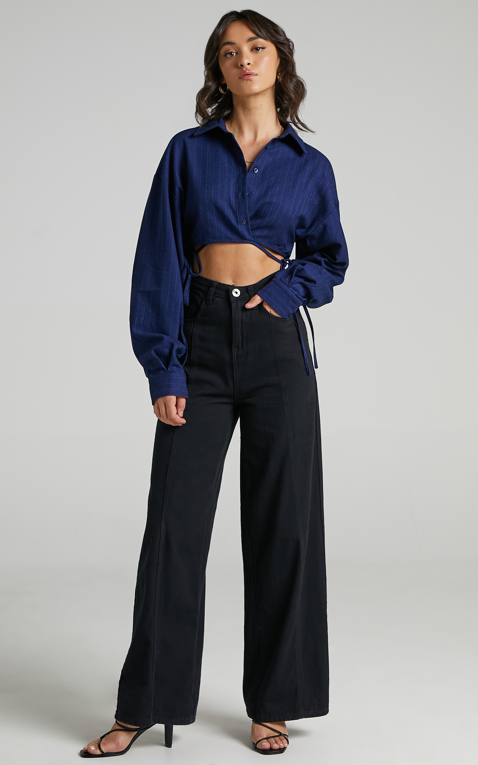 Lioness - Hideaway Crop Shirt in Midnight Pinstripe - L, BLU1, hi-res image number null