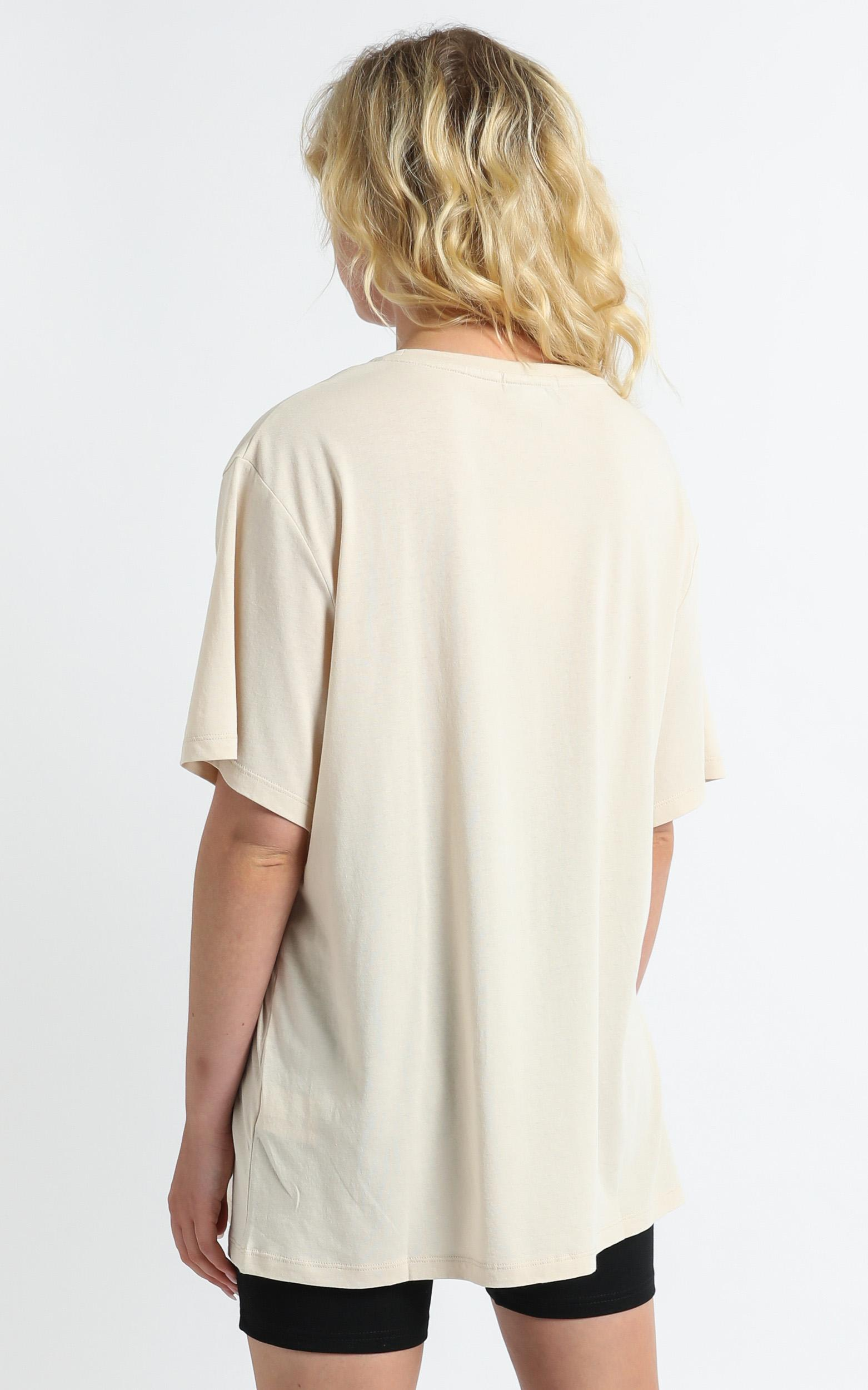 Charlie Holiday - Sweet Thing Oversize Boyfriend Tee in Birch - XS, Cream, hi-res image number null
