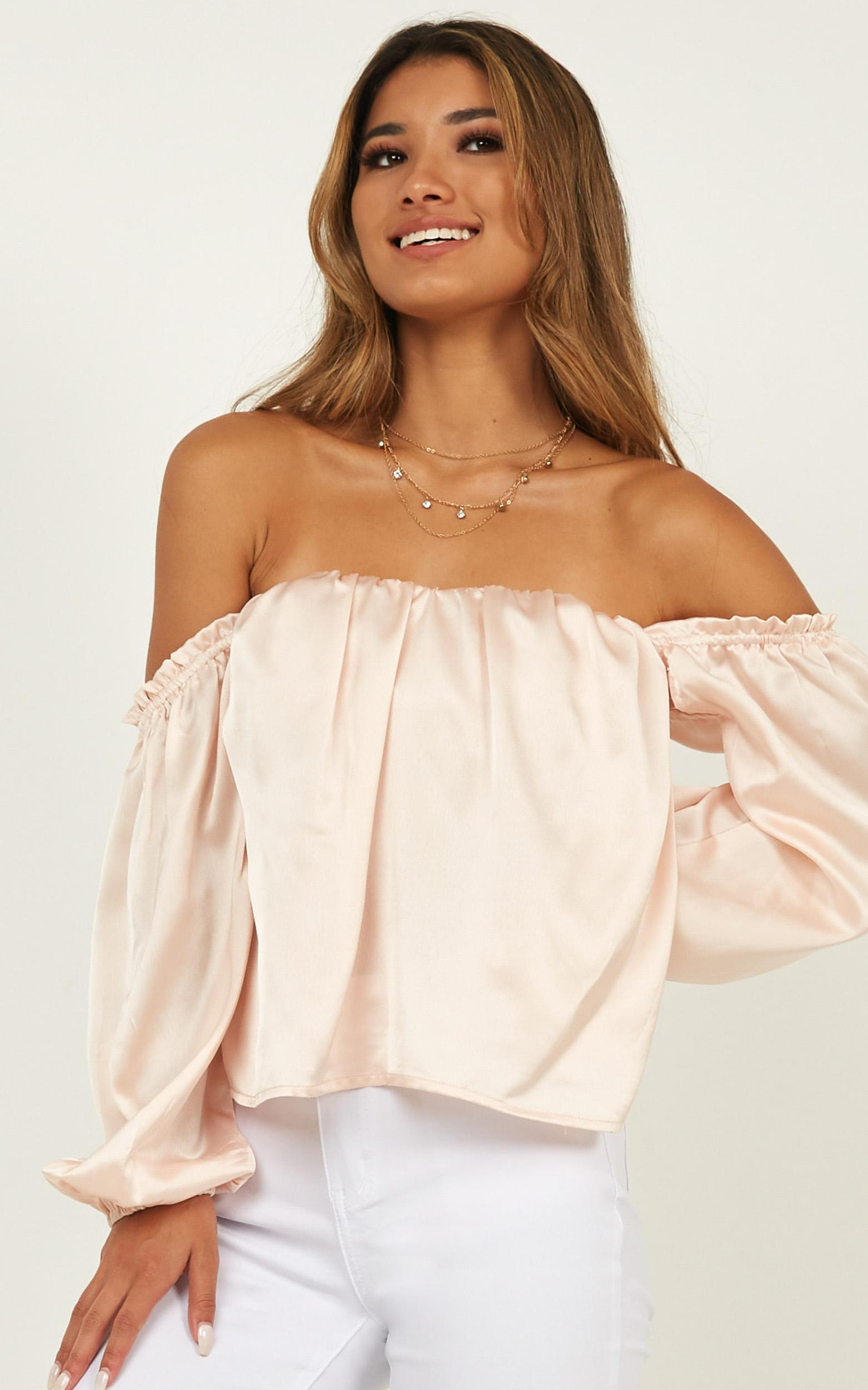 Court Love Top in champagne satin - 12 (L), Beige, hi-res image number null