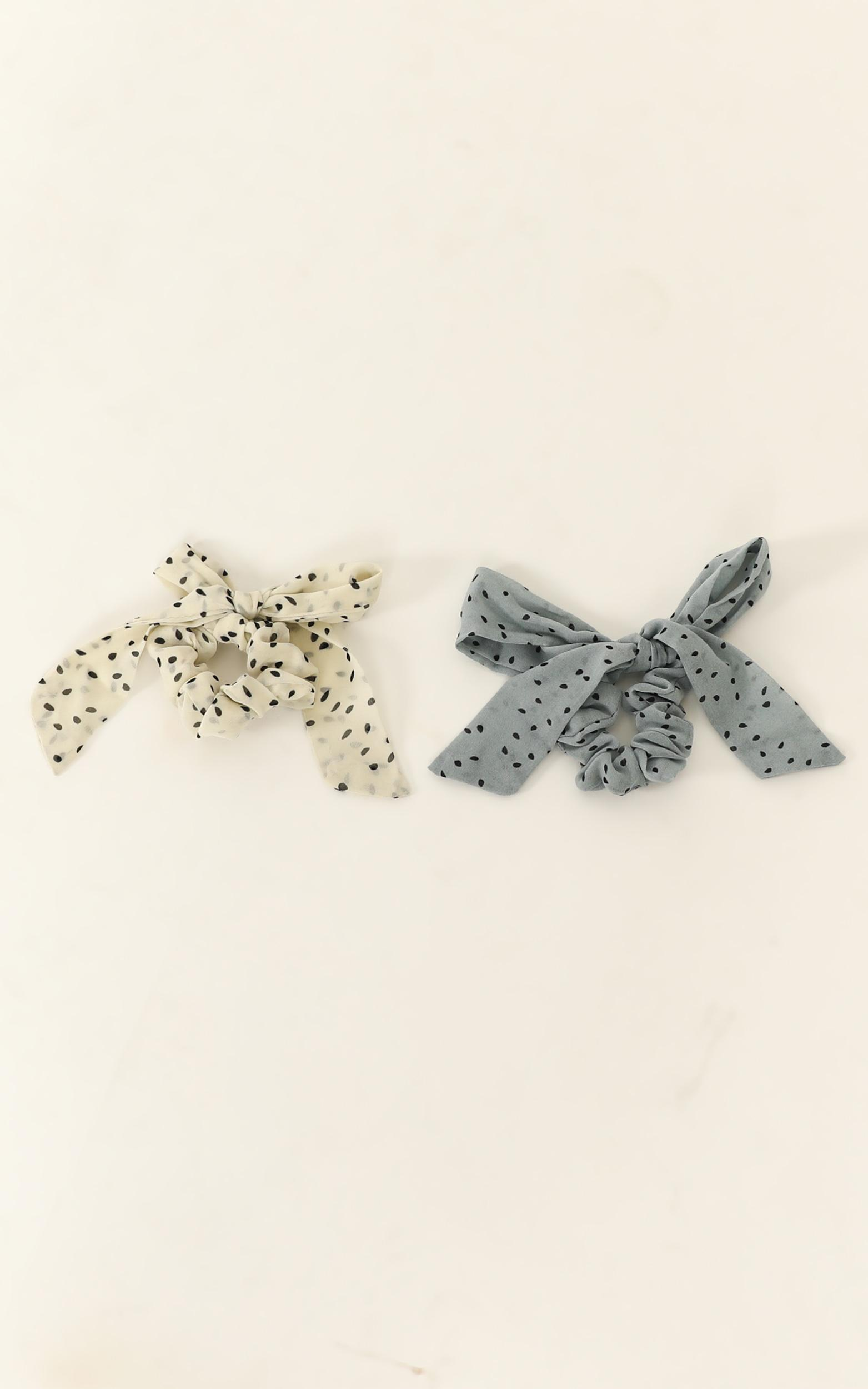 Take You Out Scrunchie 2 Pack In Cream And Baby Blue Spot, Cream, hi-res image number null