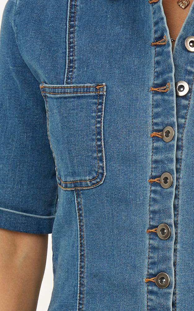 Shes A Vision denim dress in mid wash - 12 (L), Blue, hi-res image number null