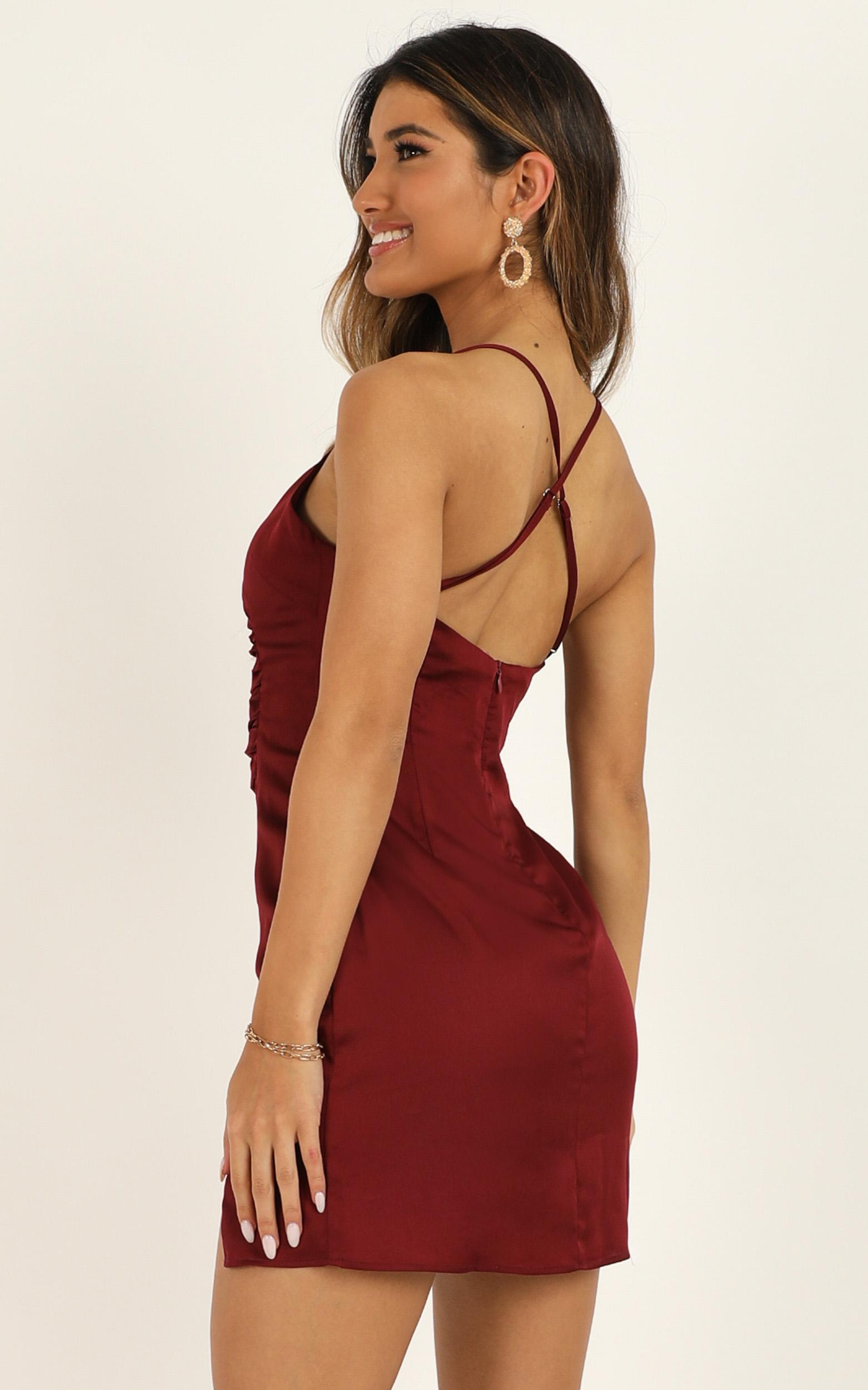 Saw The Light Dress In Wine Satin - 4 (XXS), Wine, hi-res image number null