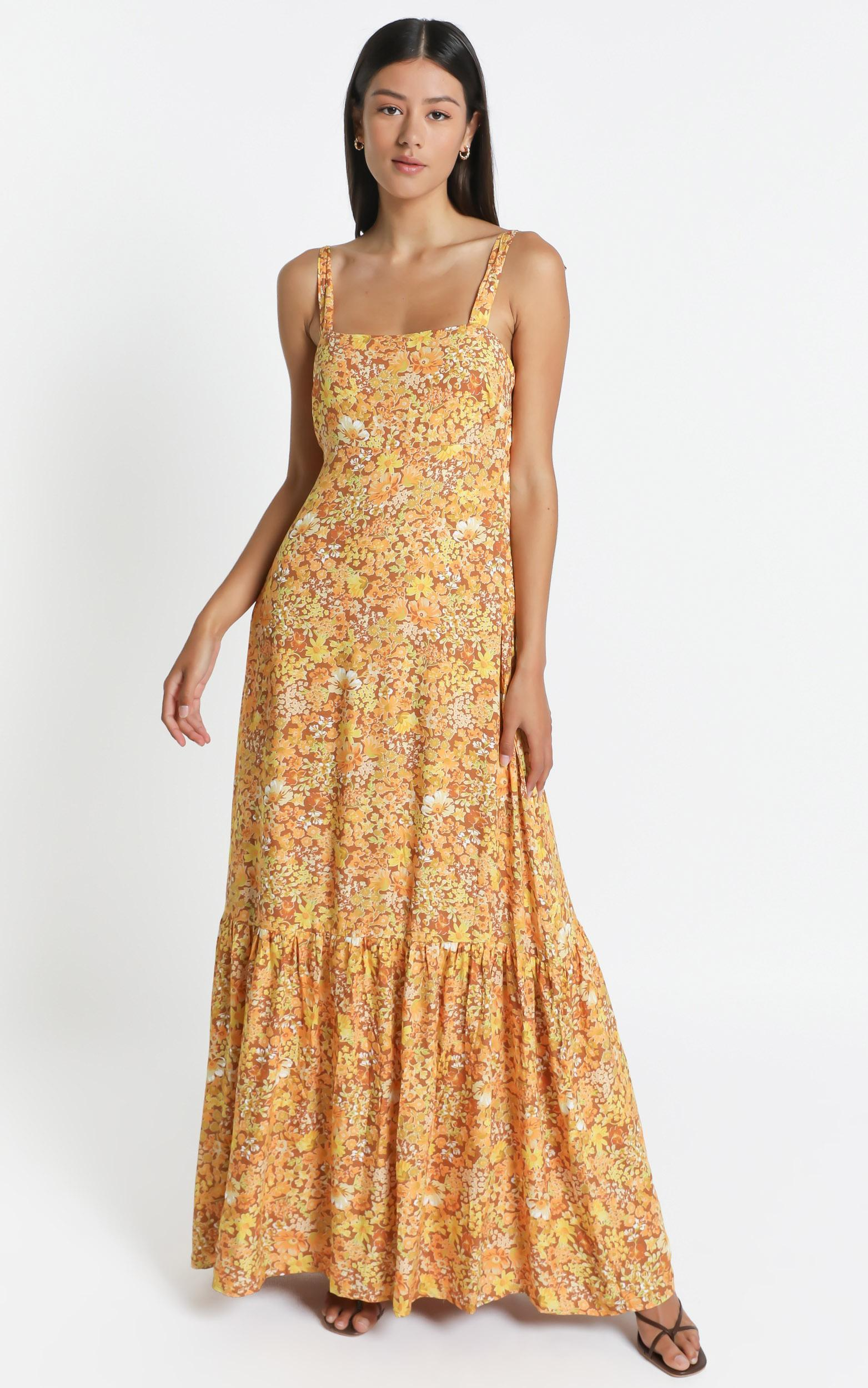 Honor Dress in Rustic Floral - 6 (XS), Mustard, hi-res image number null