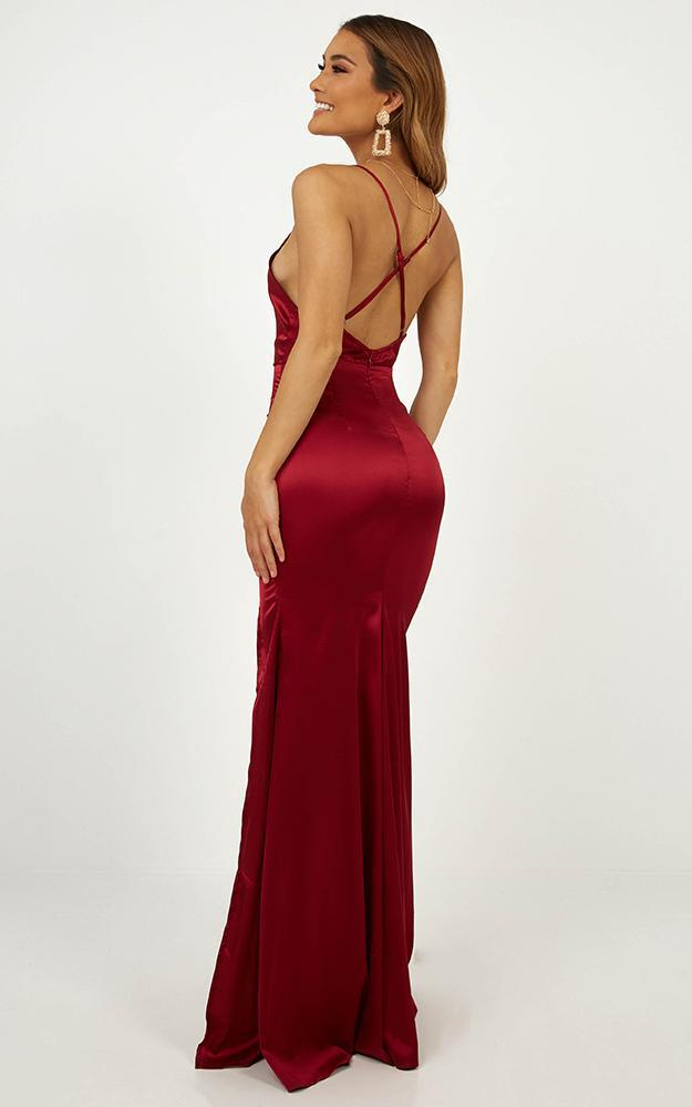 Crazy About Me Dress In Wine Satin - 4 (XXS), Wine, hi-res image number null