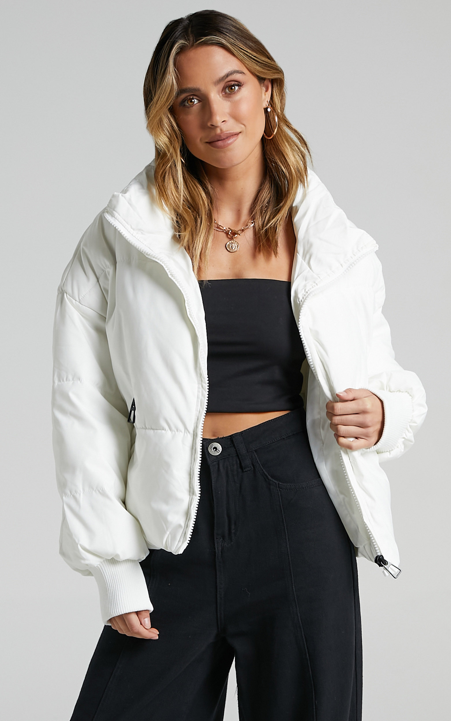 Windsor Puffer Jacket in White - 06, WHT6, hi-res image number null