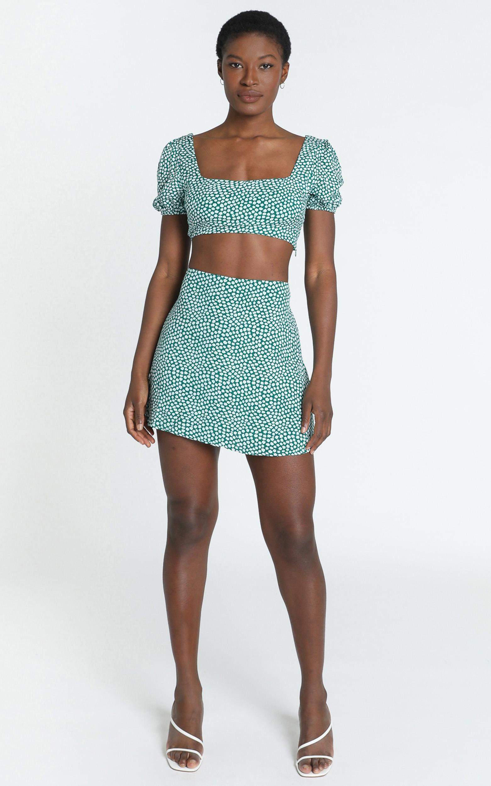 Are You Up To It two piece set in green floral - 20 (XXXXL), Green, hi-res image number null
