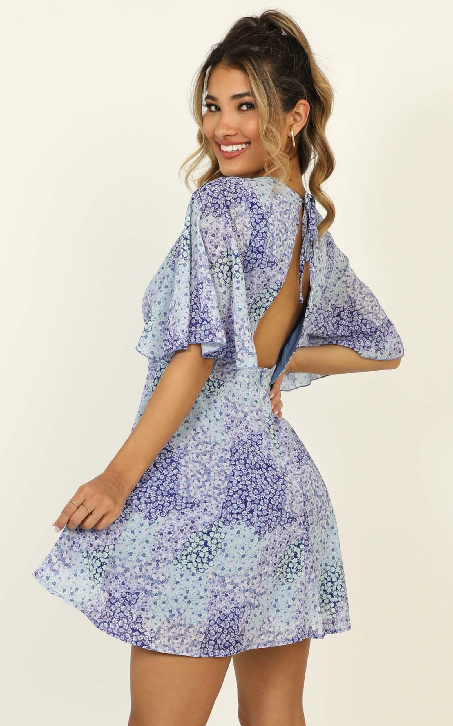 Cheers To Us Dress in blue floral - 20 (XXXXL), Blue, hi-res image number null