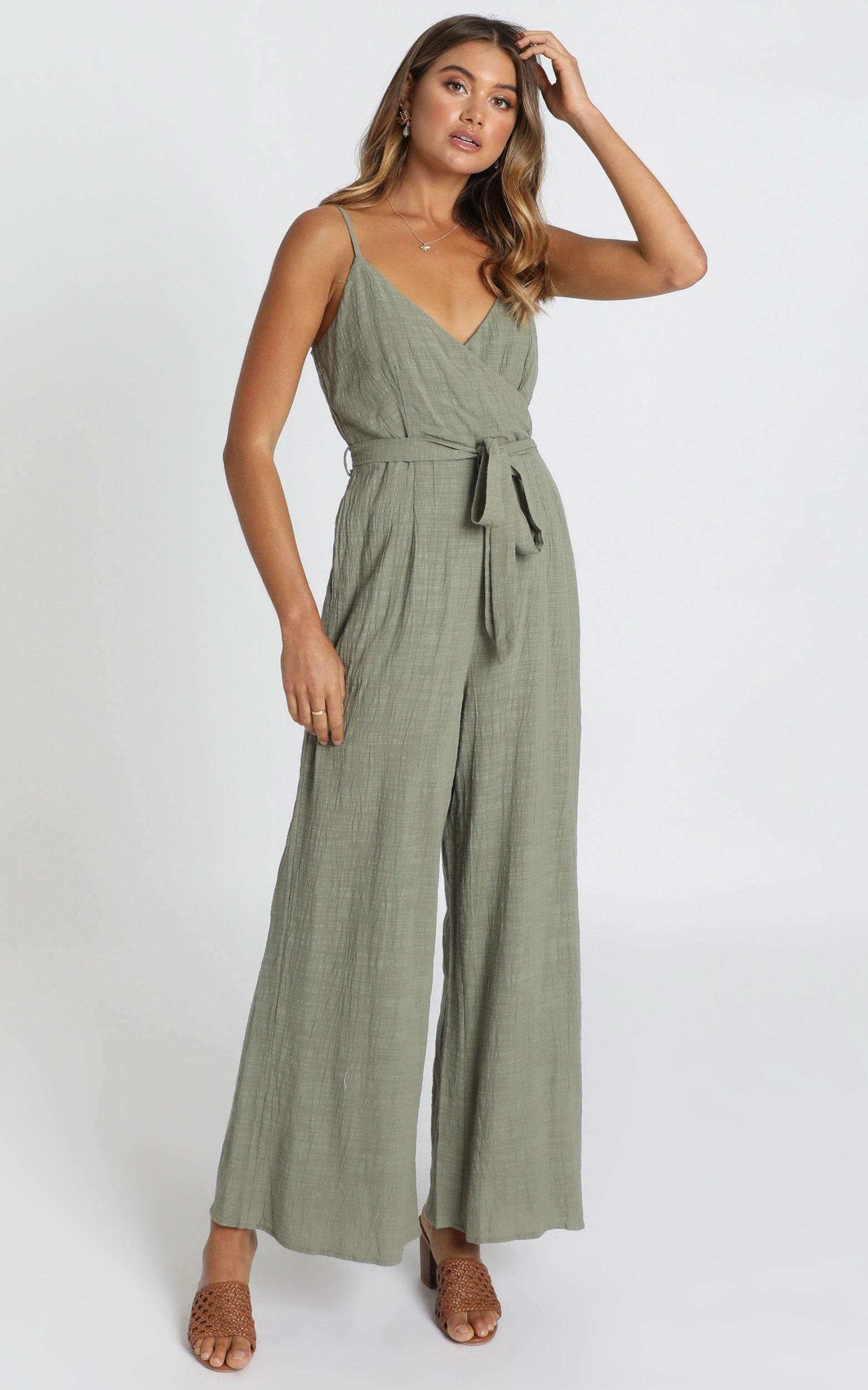 Farah Jumpsuit in khaki linen look - 12 (L), Khaki, hi-res image number null