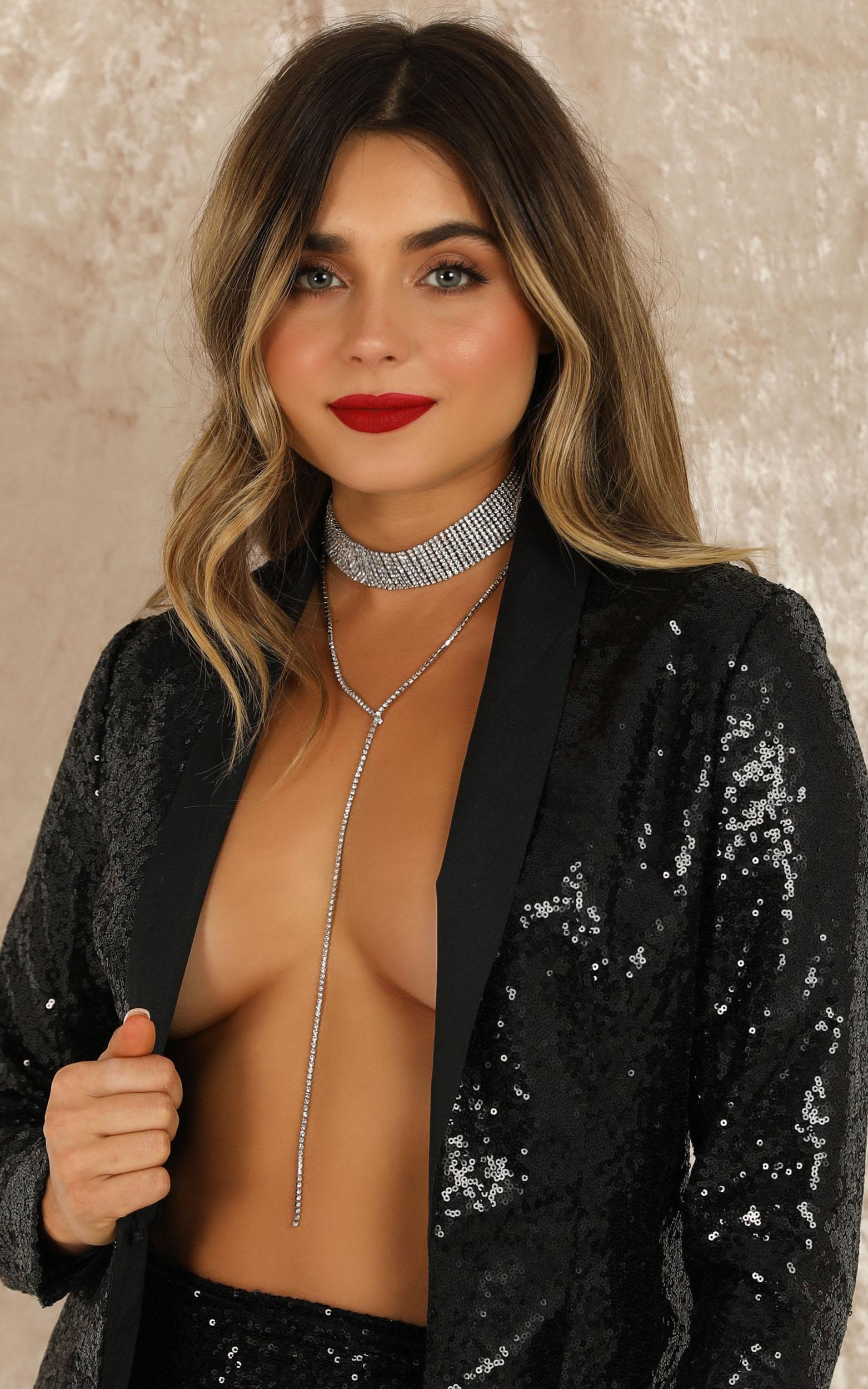 No More Lies Necklace In Silver Diamante, , hi-res image number null