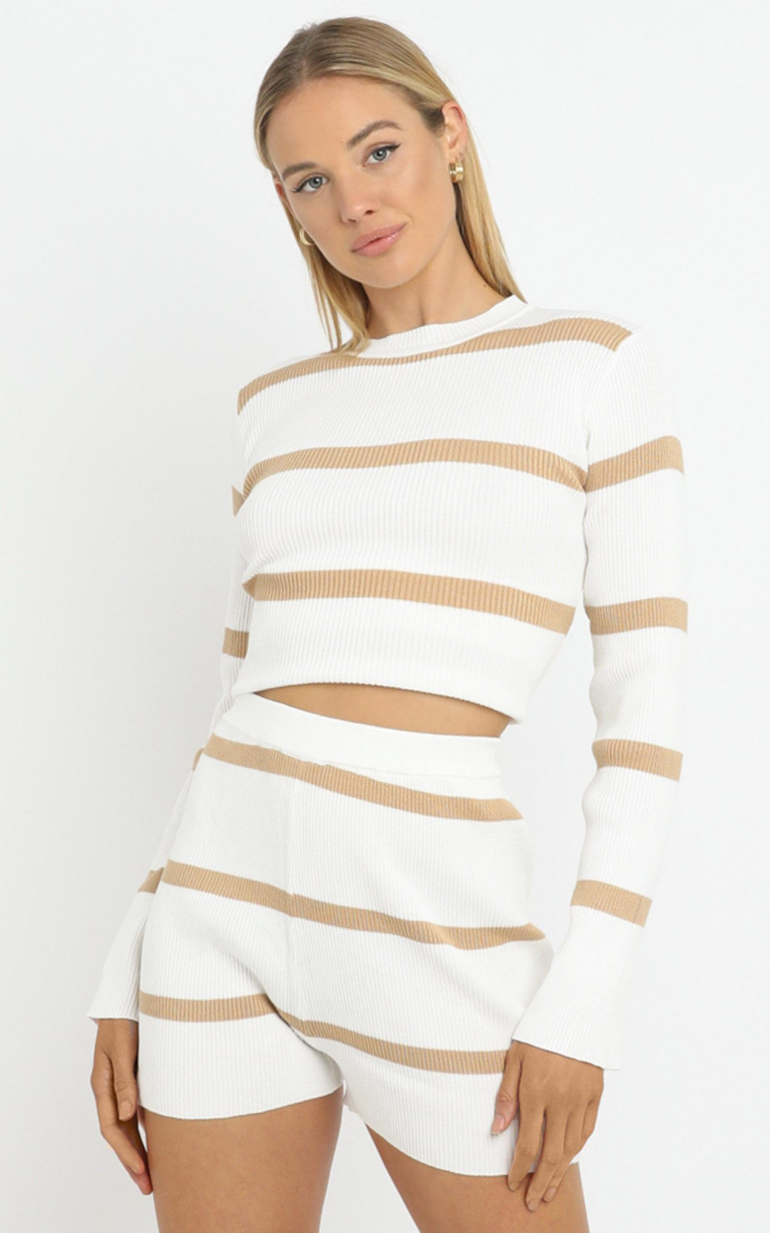 Jennings Knit Two Piece Set Beige Stripe - L/XL, White, hi-res image number null