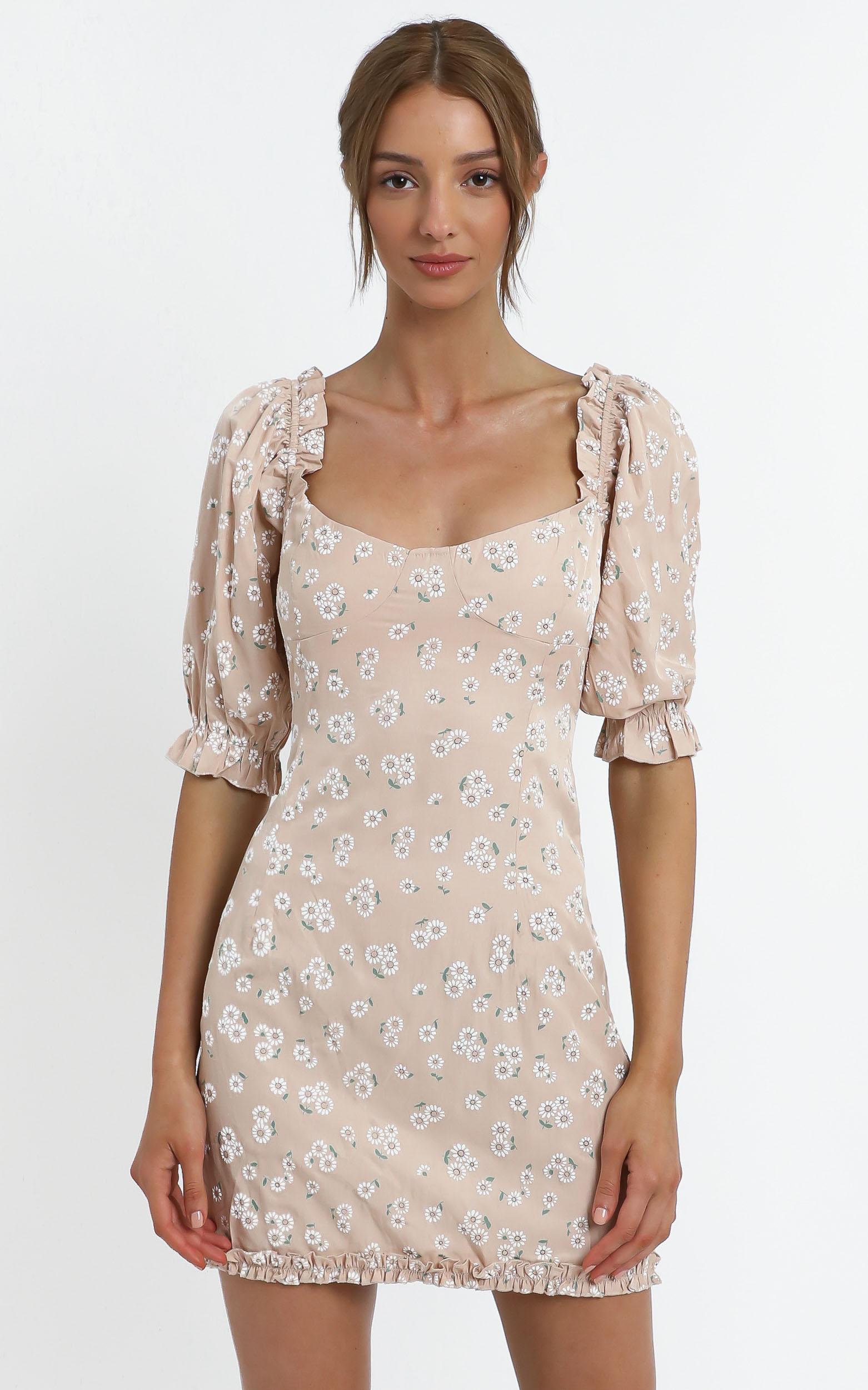 Scarlette Dress in Beige Floral - 14 (XL), Beige, hi-res image number null