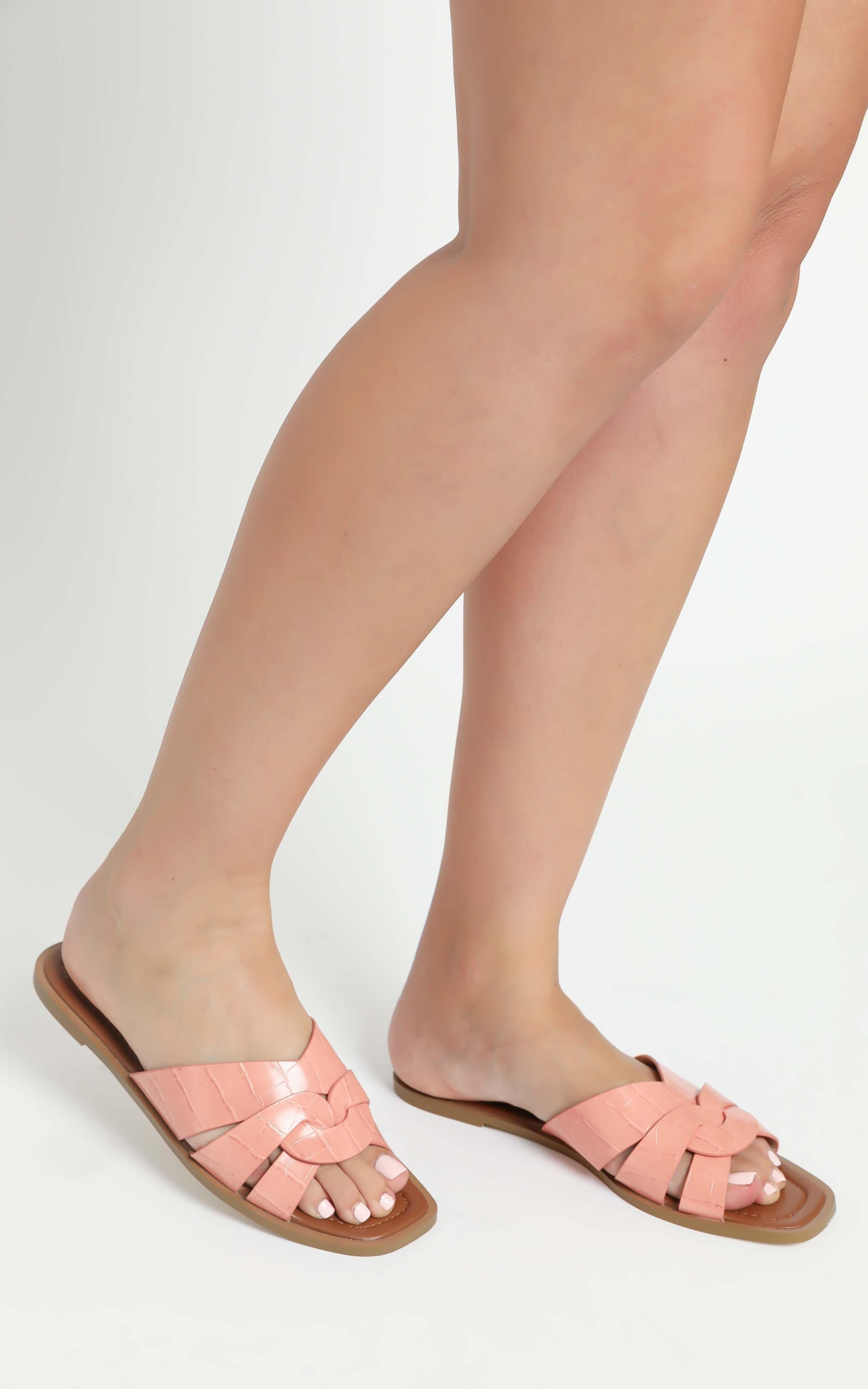 Verali - Glam Sandals in Peach Croc - 5, Pink, hi-res image number null