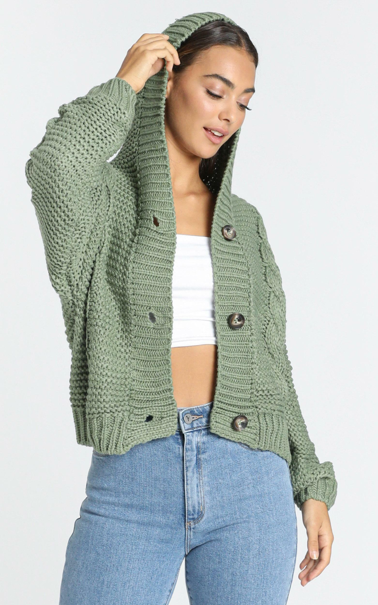 Allie Cardigan in Olive - XS, Green, hi-res image number null
