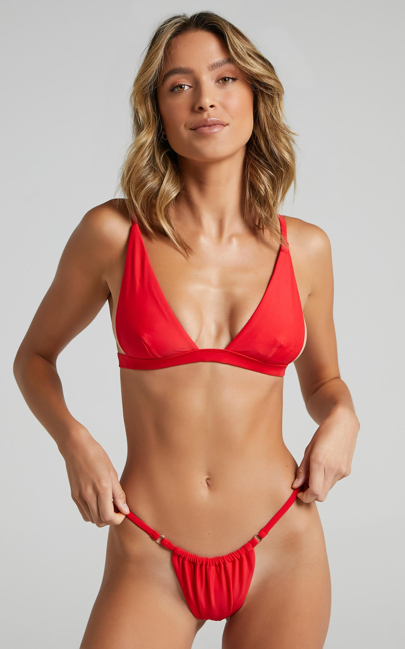 Twiin - New Era Triangle Bikini Top in Red - XS, RED1, hi-res image number null