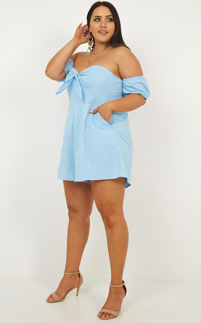Sweeter Than You Playsuit in blue linen look - 20 (XXXXL), Blue, hi-res image number null