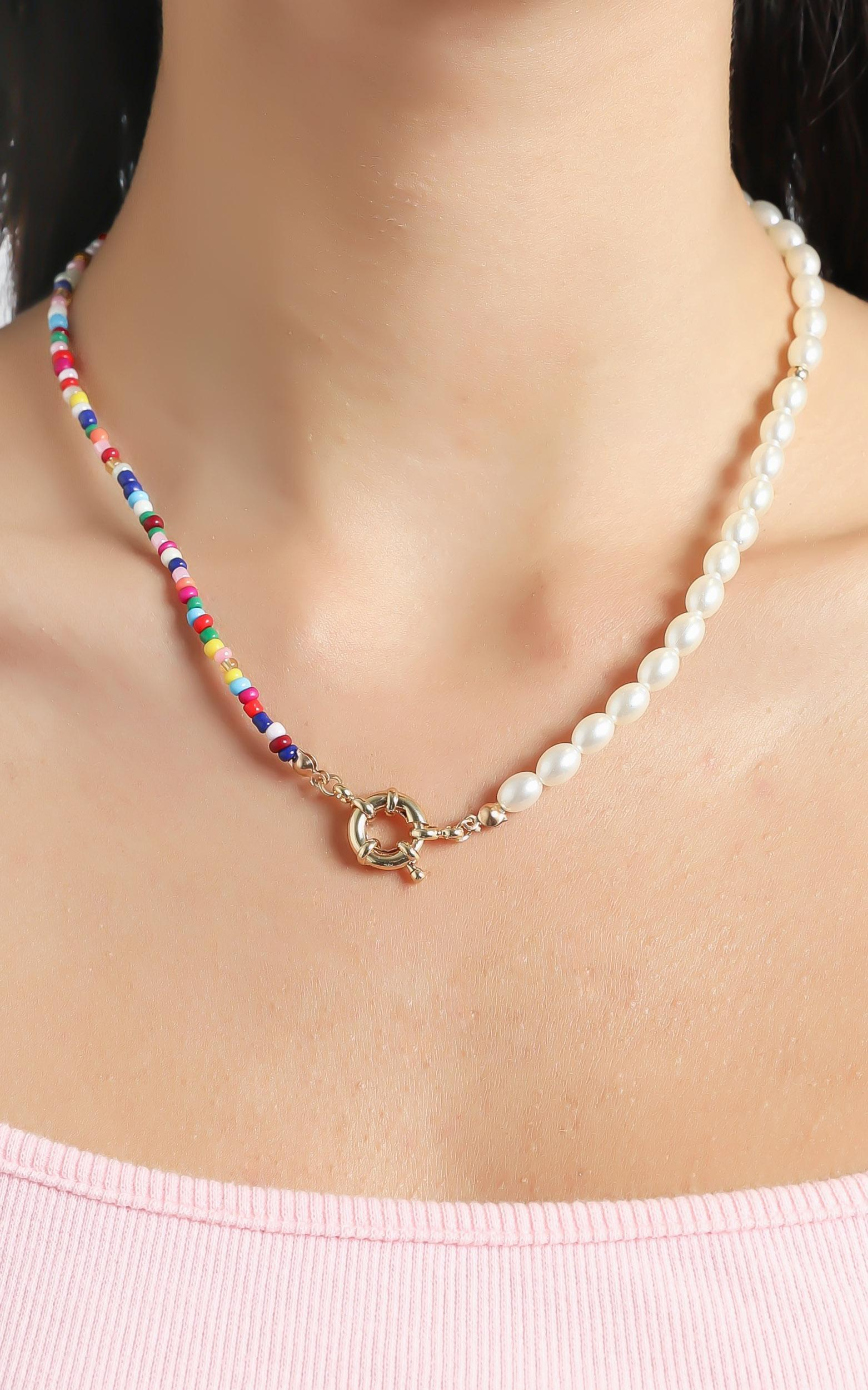 Beaded Necklace with Pearls in Multi, , hi-res image number null