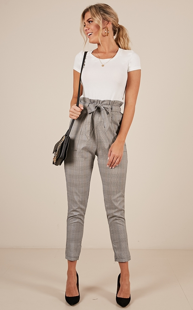 Work up Pants in grey check - 12 (L), Grey, hi-res image number null