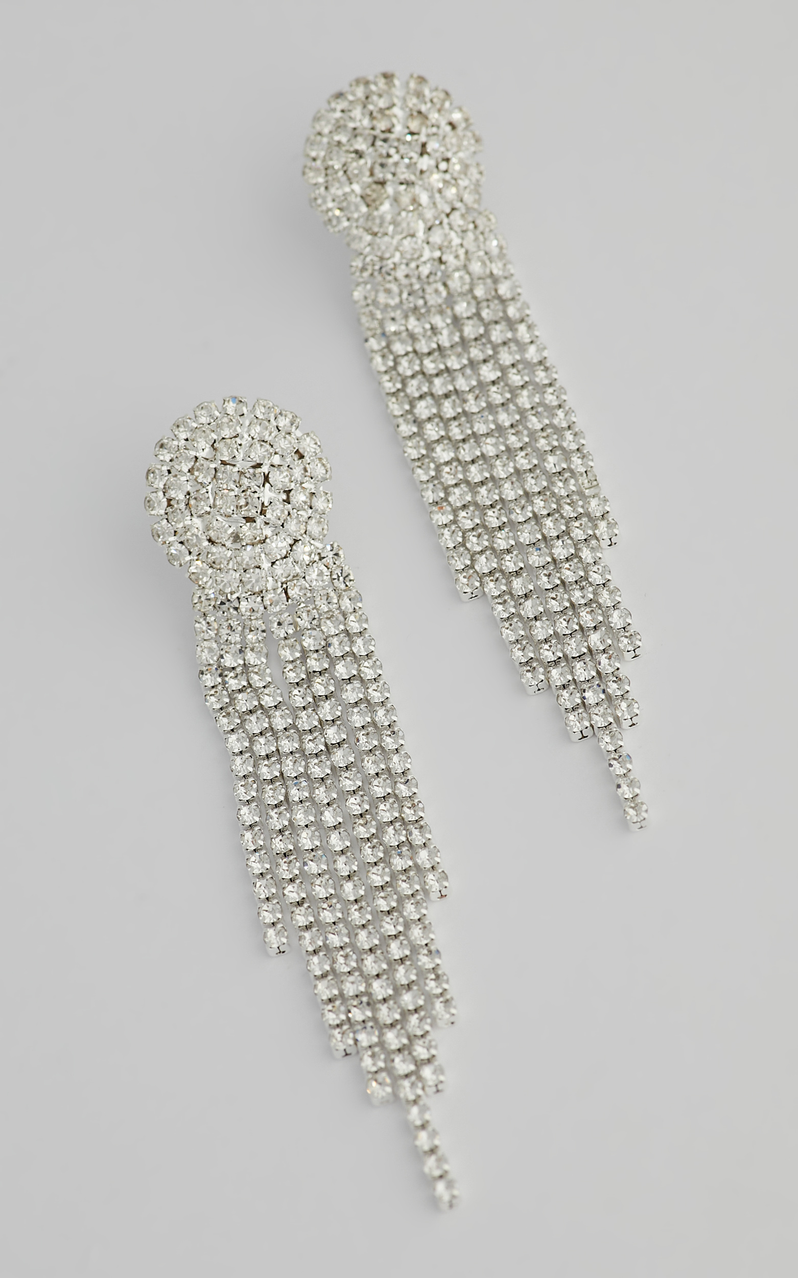 Trinny Drop Earrings in Silver Diamante - NoSize, SLV1, hi-res image number null