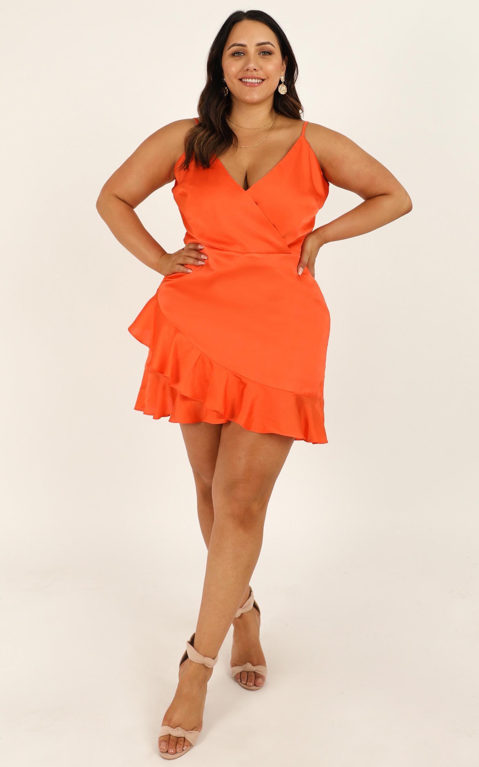 Cloud Cover Dress In tangerine satin - 16 (XXL), Orange, hi-res image number null
