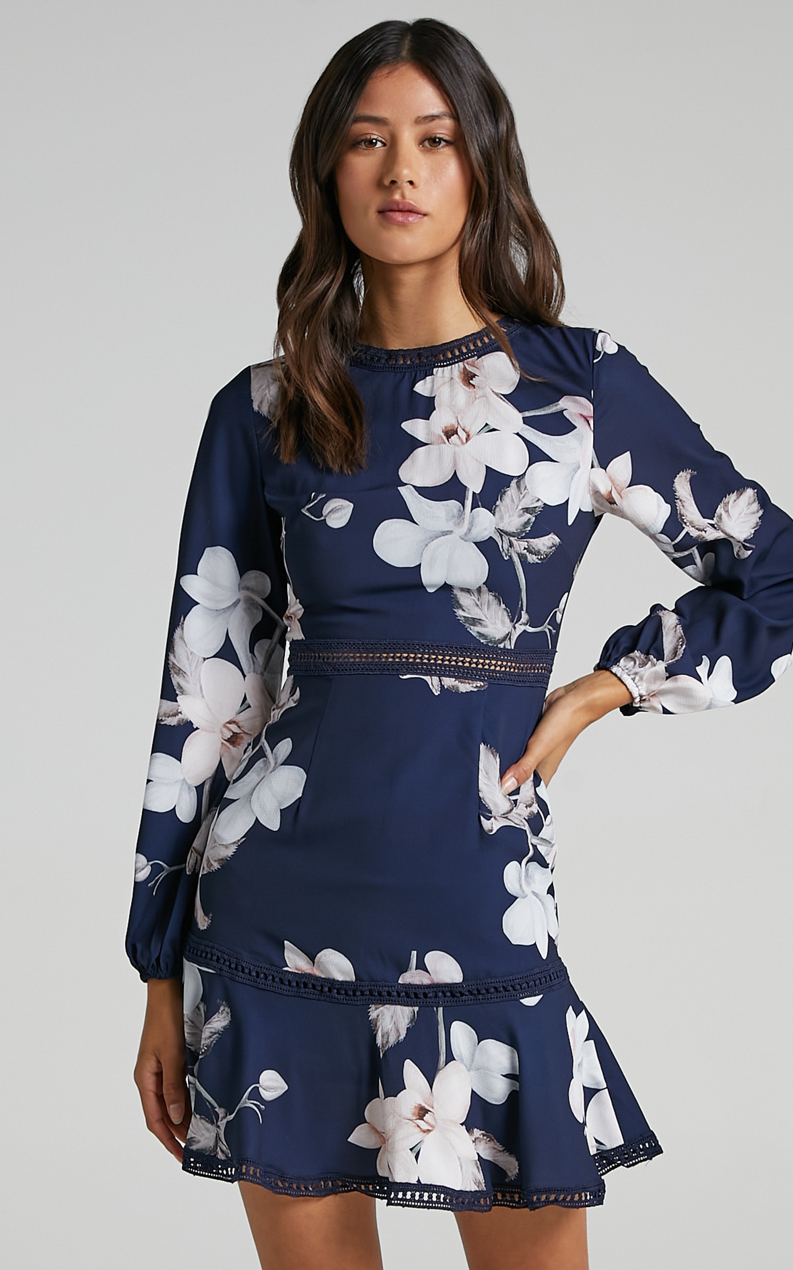 Not Missing Out Dress in Navy Floral - 16, NVY1, hi-res image number null