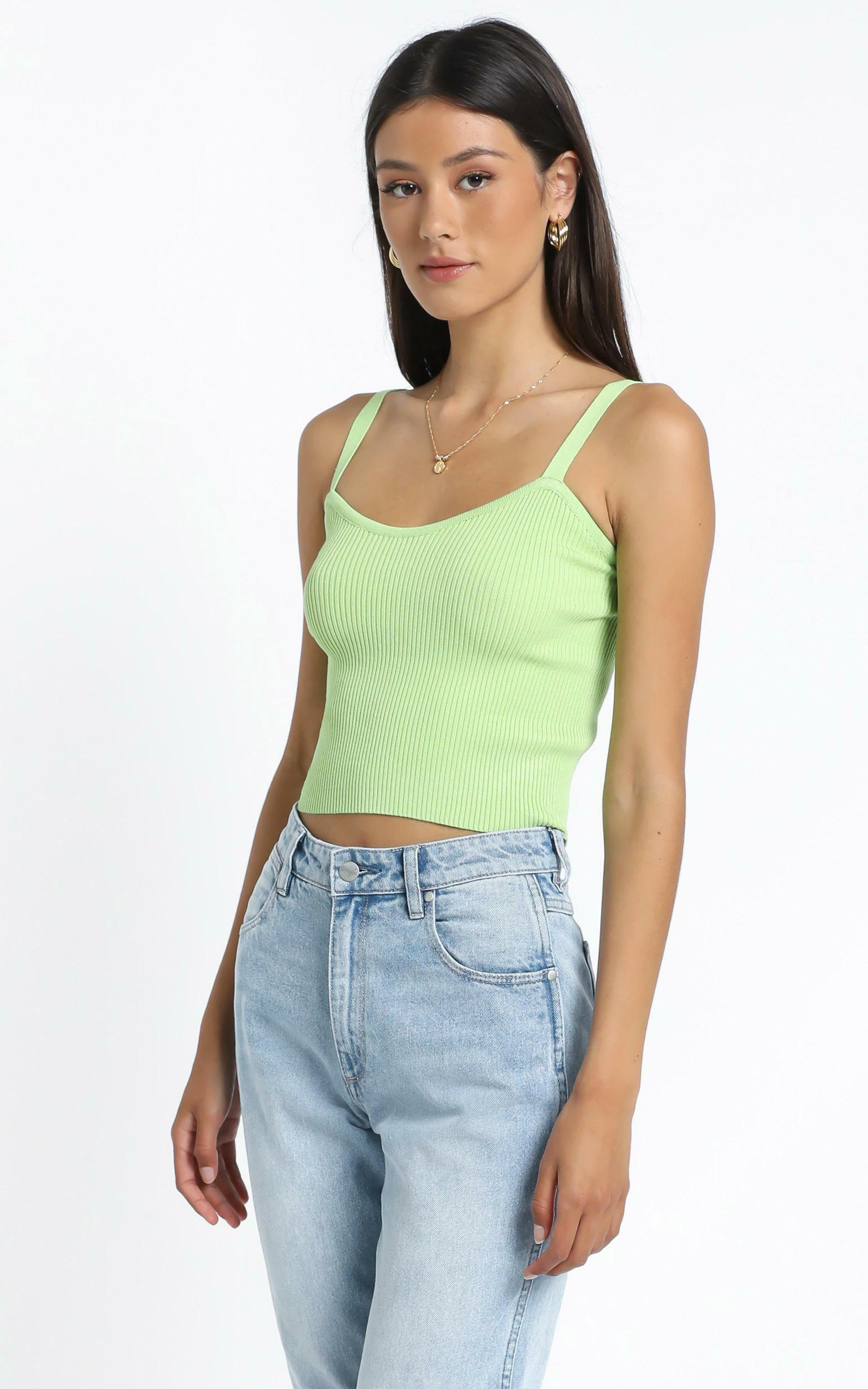 Ayla Knit Top in Lime - M/L, Green, hi-res image number null