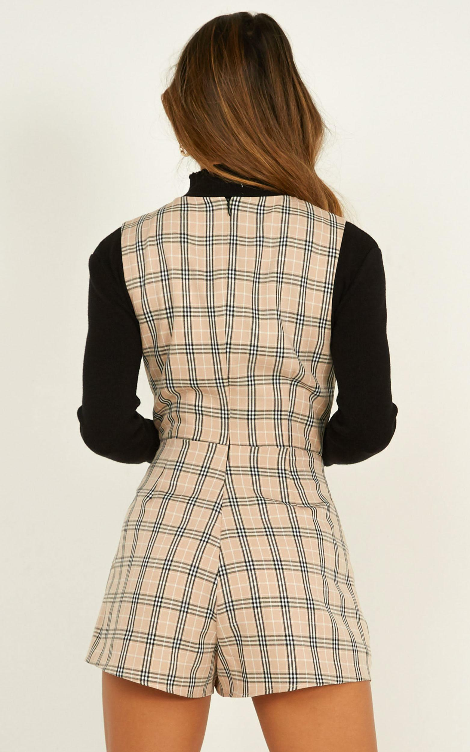 Meaning Of Us Playsuit in beige plaid - 20 (XXXXL), Beige, hi-res image number null