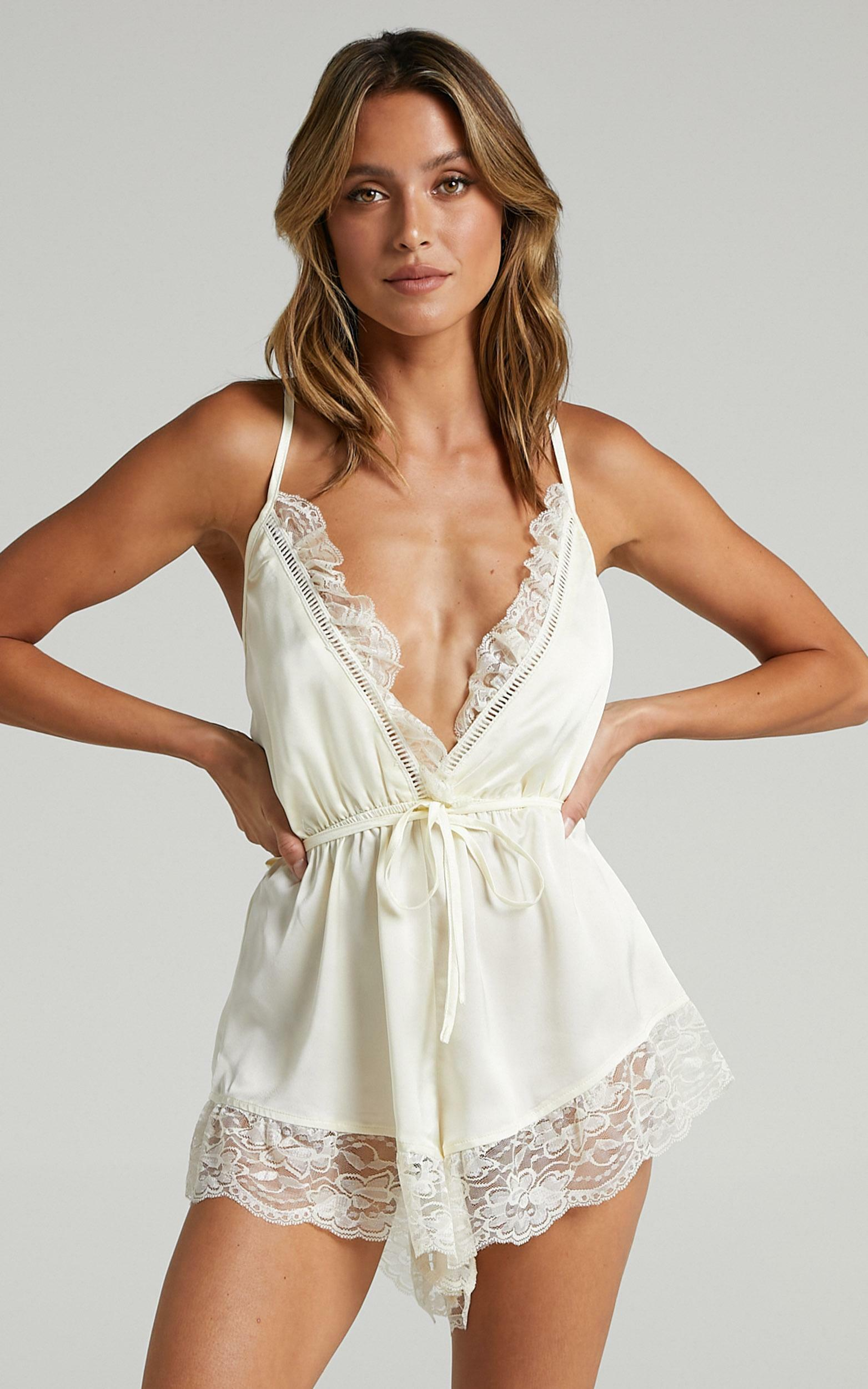 Night After Night Romper in Ivory Satin - 6 (XS), WHT1, hi-res image number null