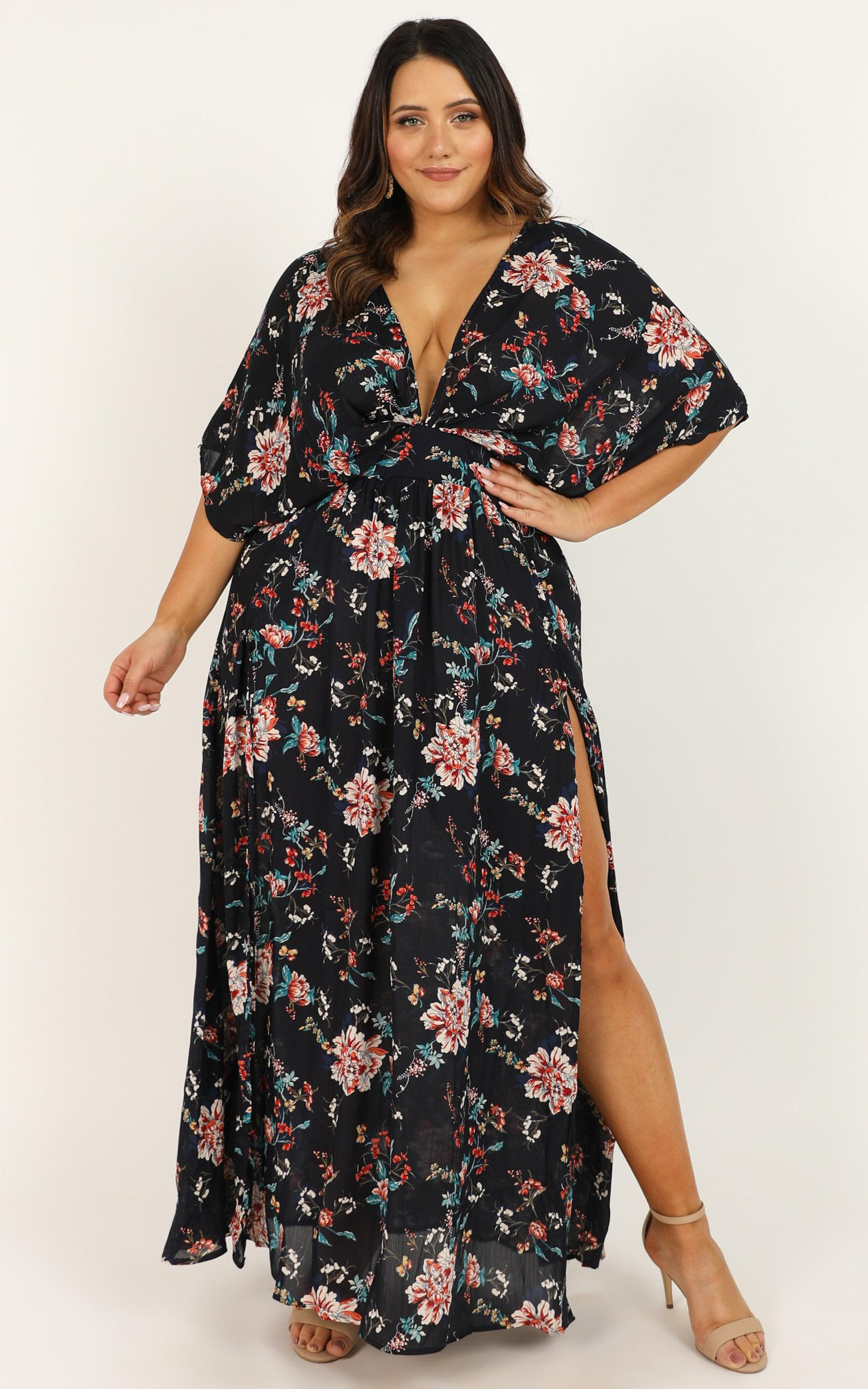 Vacay Ready Maxi dress in dark navy floral - 4 (XXS), Navy, hi-res image number null