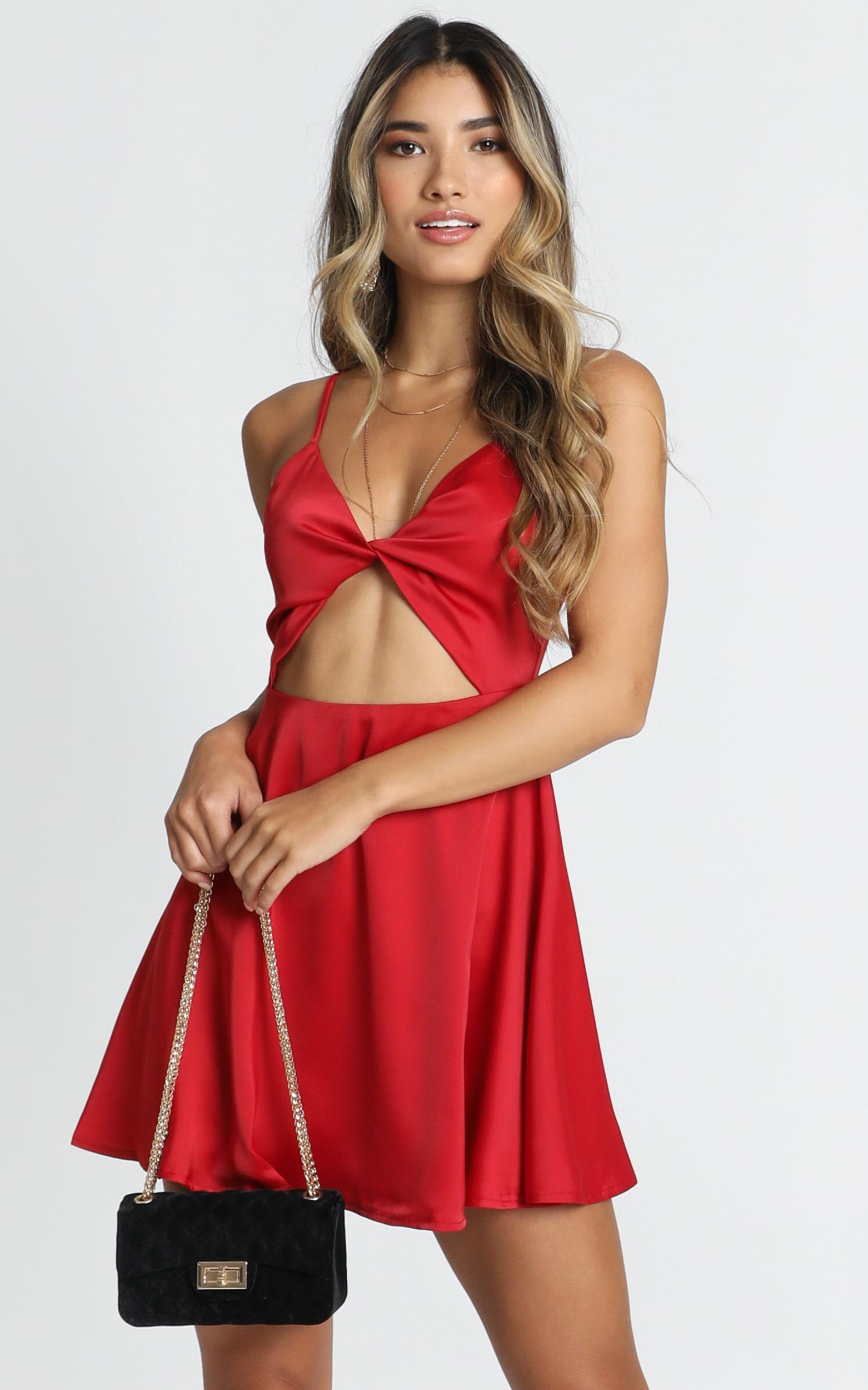 Hold You In my Palm Dress In red satin - 14 (XL), Red, hi-res image number null
