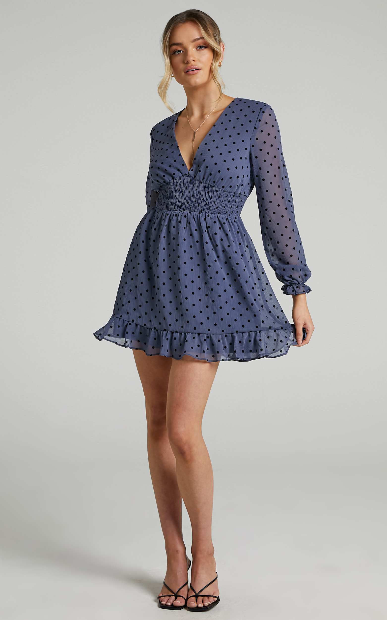 Pretty As You Long Sleeve Mini Dress in Blue Spot - 04, BLU1, hi-res image number null
