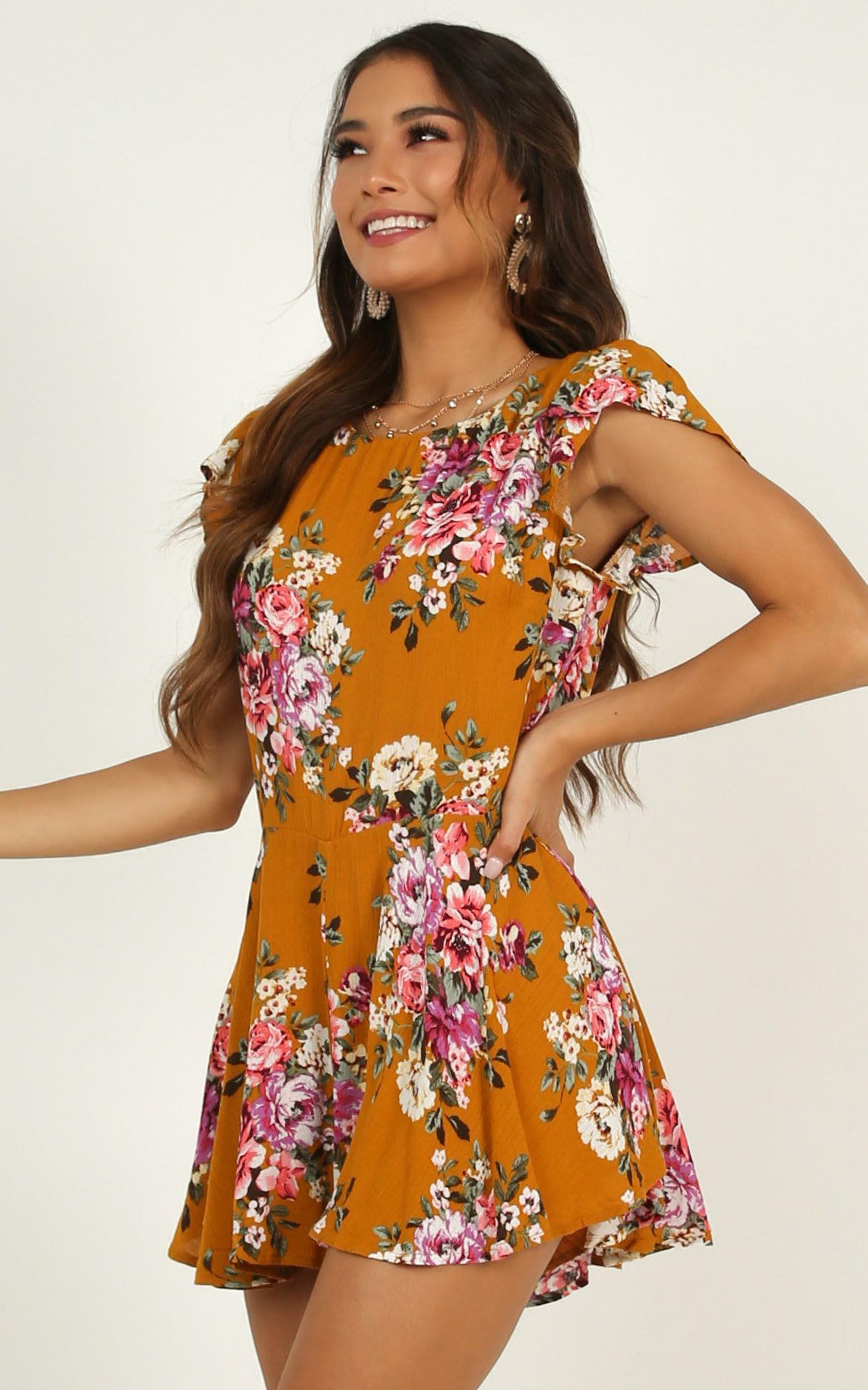 Falling Under Playsuit in mango floral - 20 (XXXXL), Yellow, hi-res image number null
