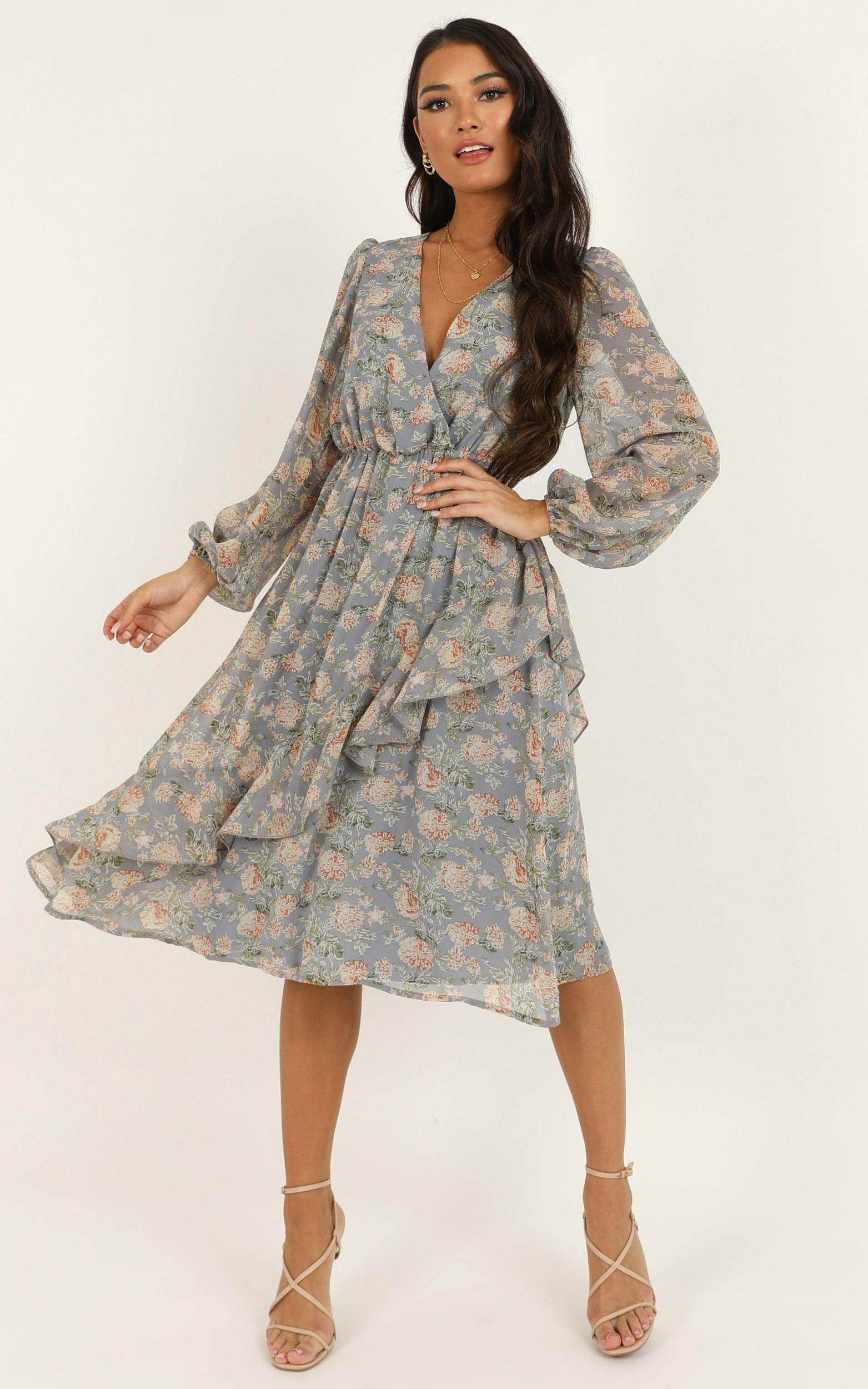 Eternal Youth Dress in blue floral - 20 (XXXXL), Blue, hi-res image number null