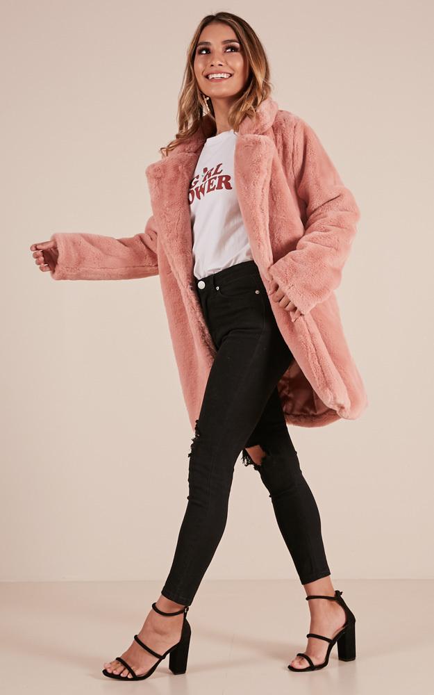 End of Time fur coat in blush - M/L, BLU1, hi-res image number null